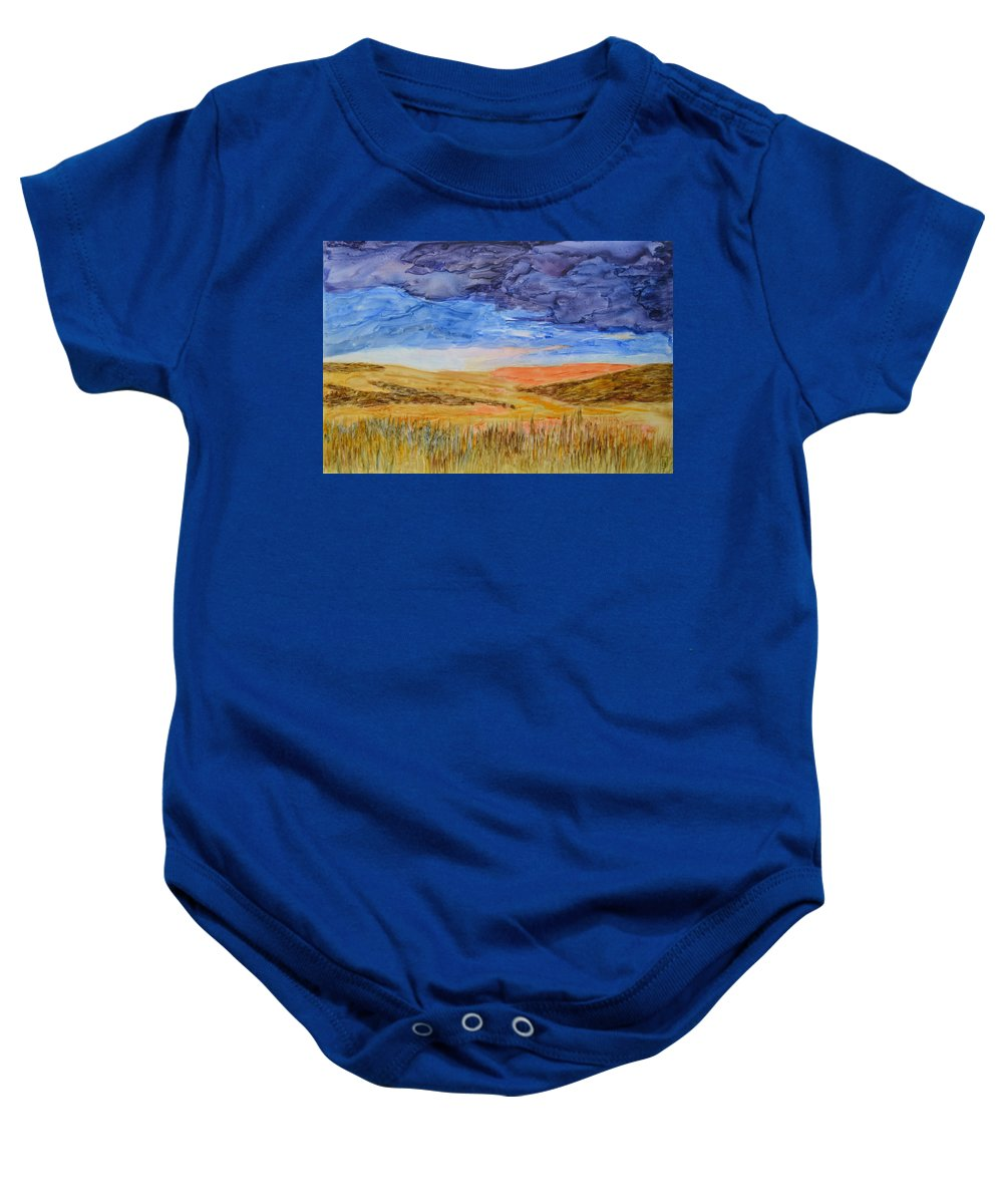 Grain Baby Onesie featuring the painting Amber Waves Of Grain by Phyllis Brady