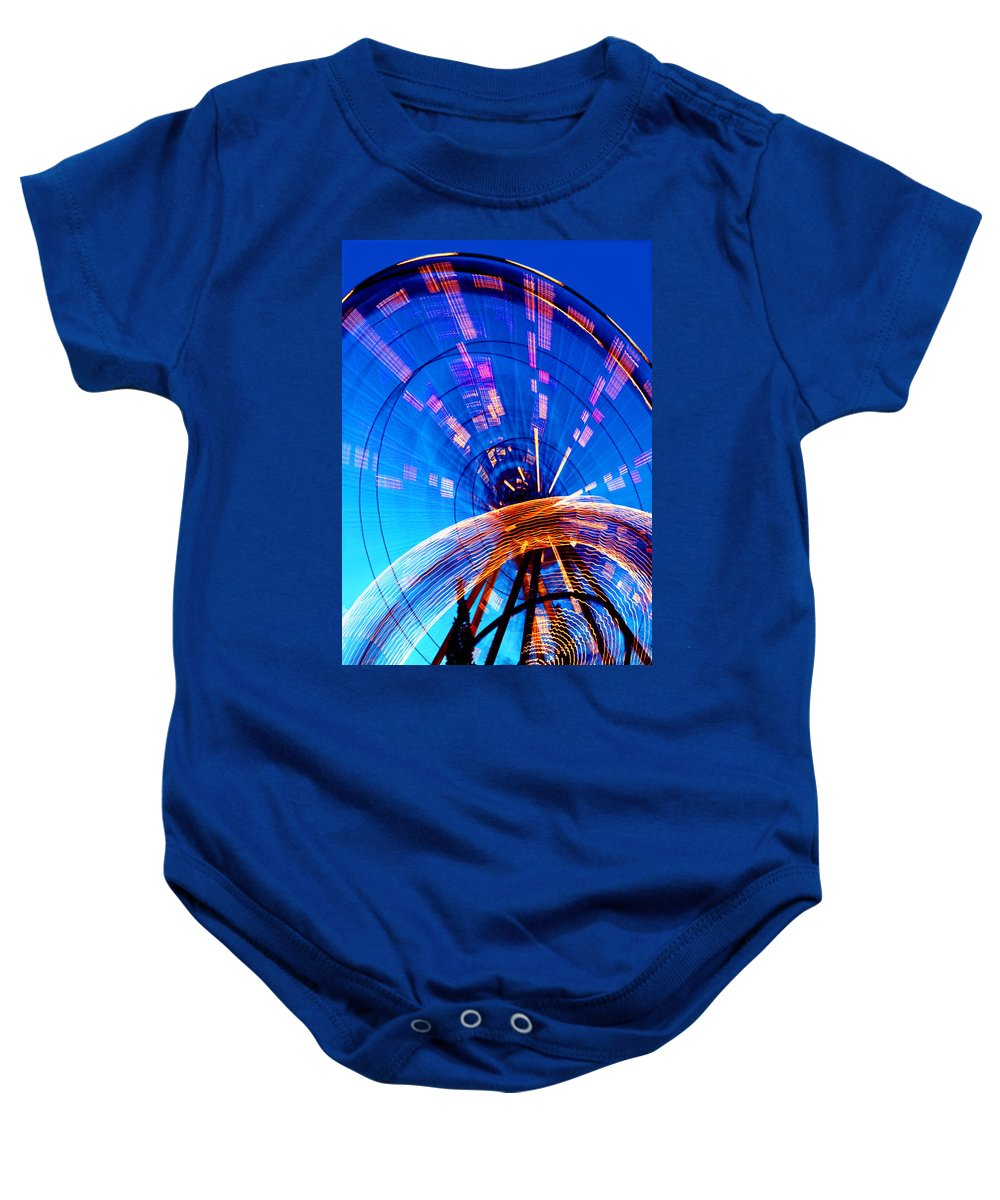 Amusement Park Baby Onesie featuring the photograph Amusement Park Rides 1 by Steve Ohlsen