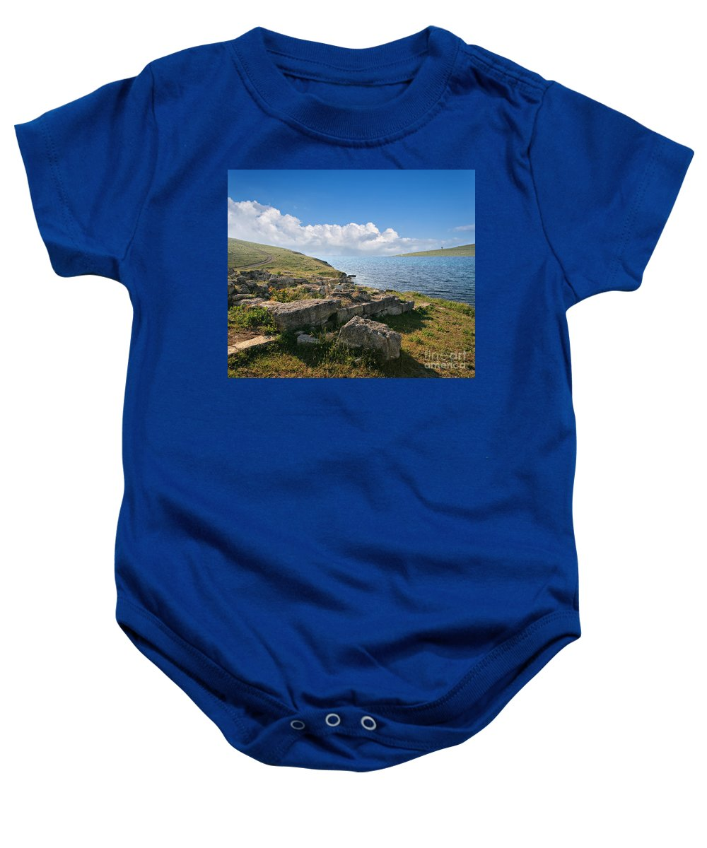 Sea Baby Onesie featuring the photograph Ancient Archaeological Site On The Coast Of Crimea Ukraine by Sophie McAulay