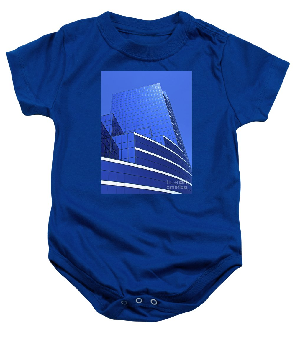 Architecture Baby Onesie featuring the photograph Architectural Blues by Ann Horn
