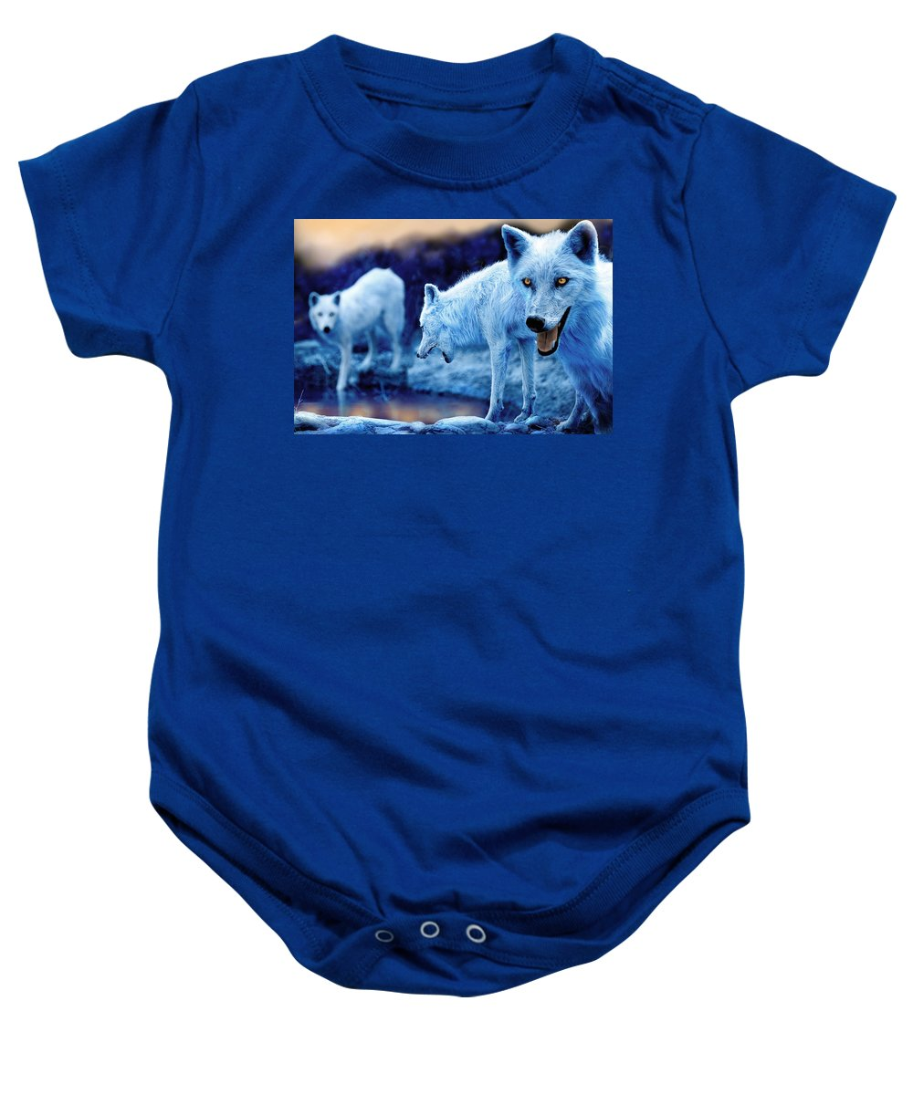Wolf Baby Onesie featuring the photograph Arctic White Wolves by Mal Bray