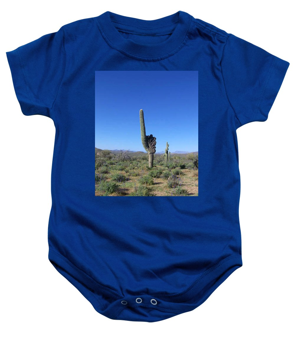 Sahuaro Baby Onesie featuring the photograph Arizona Is Number One by Kathy McClure