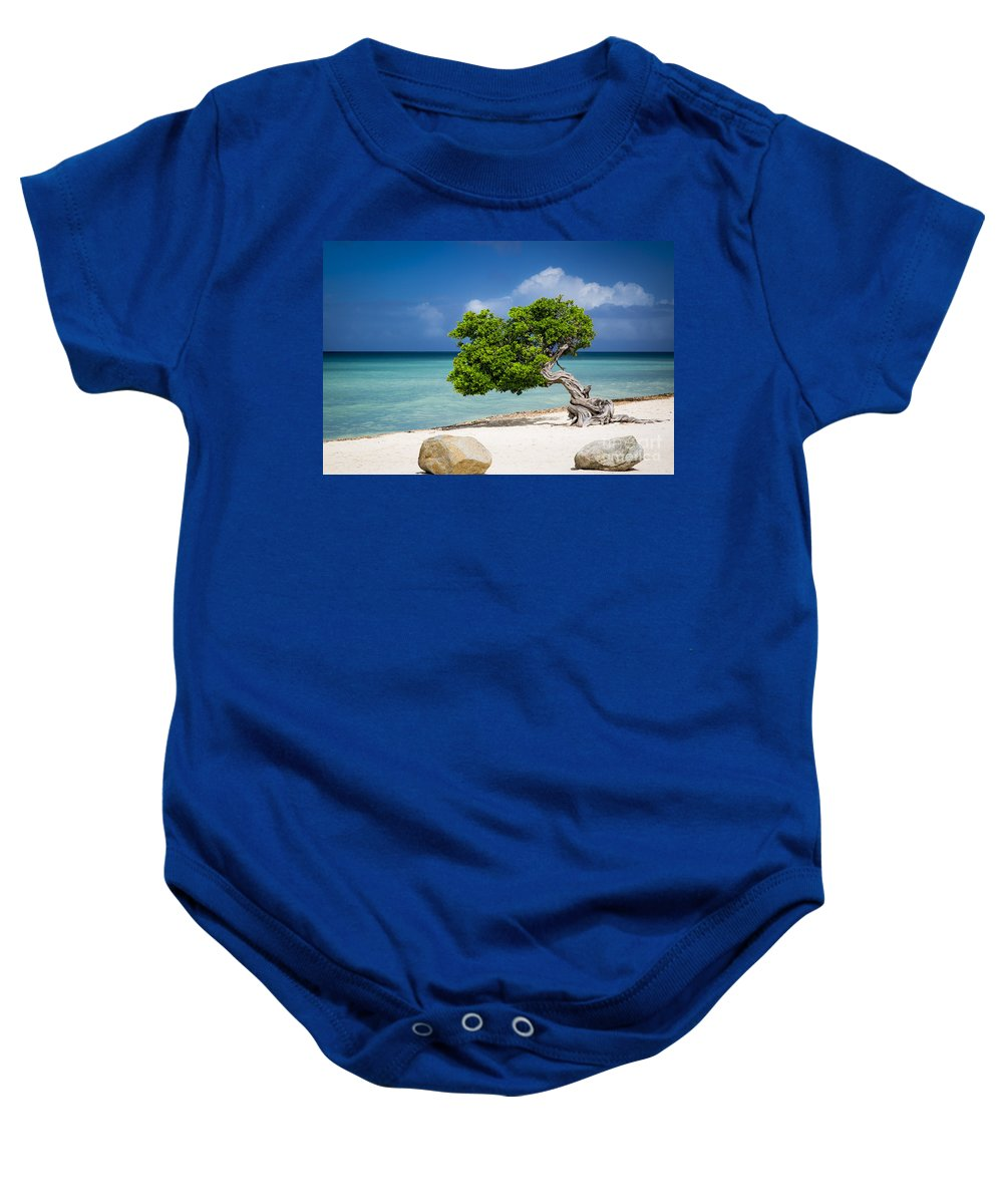 Aruba Baby Onesie featuring the photograph Aruba Tree by Brian Jannsen