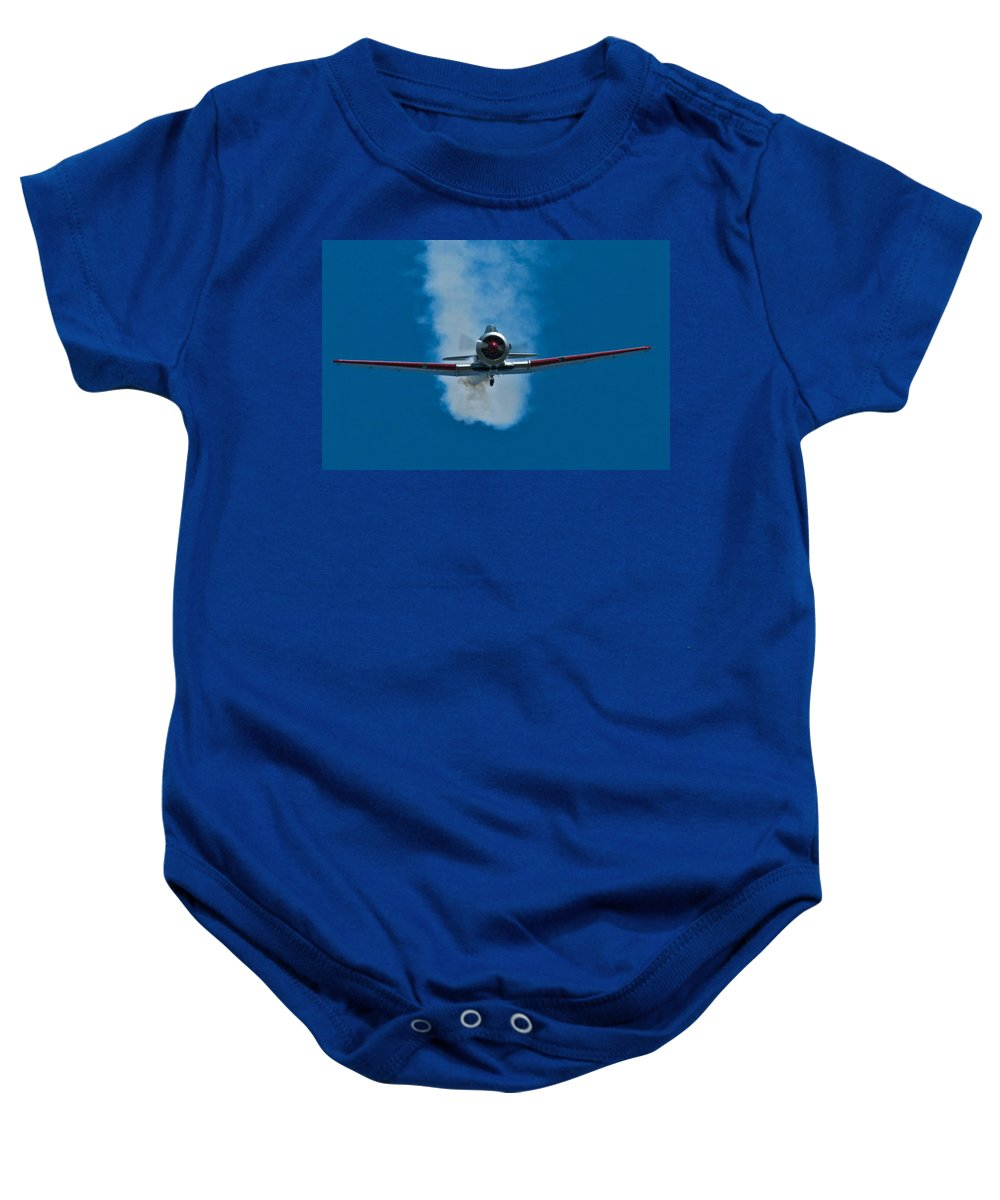At-6 Texan Baby Onesie featuring the photograph At-6 Texan by Rob Mclean
