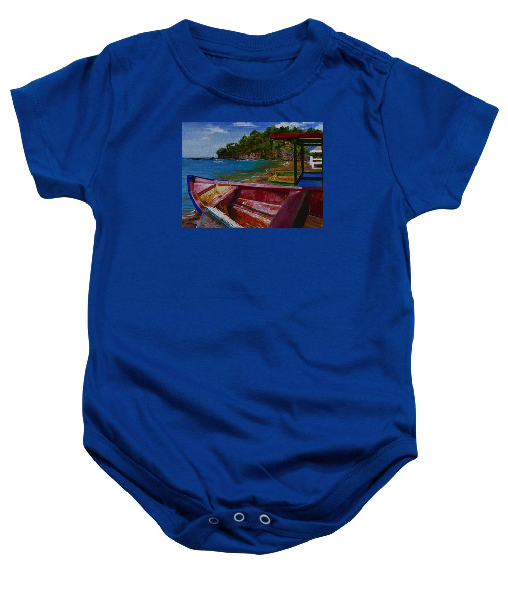 Blue Caribbean Sea Shore Baby Onesie featuring the painting At Rest by Barbara Ebeling
