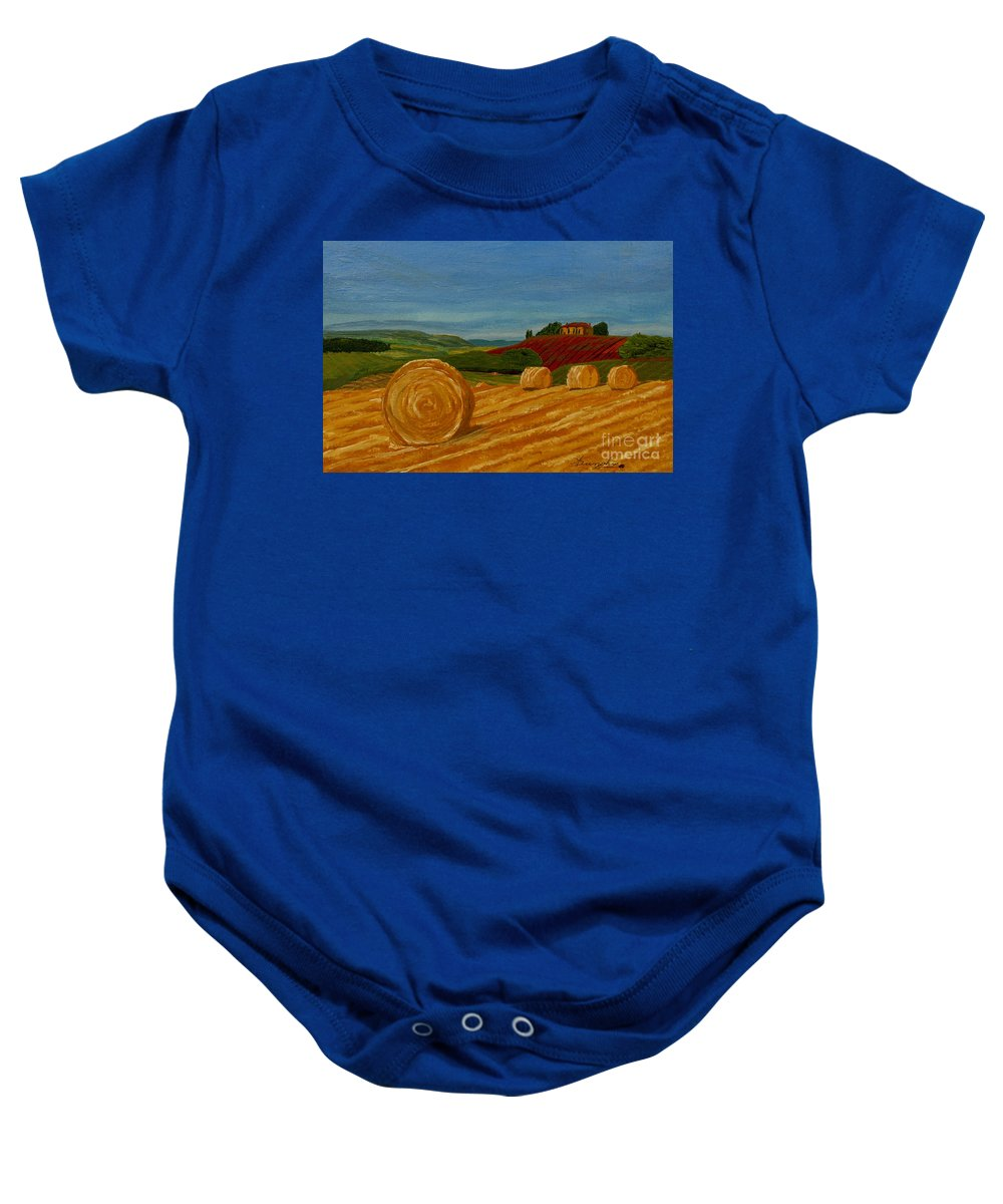 Hay Baby Onesie featuring the painting Field Of Golden Hay by Anthony Dunphy