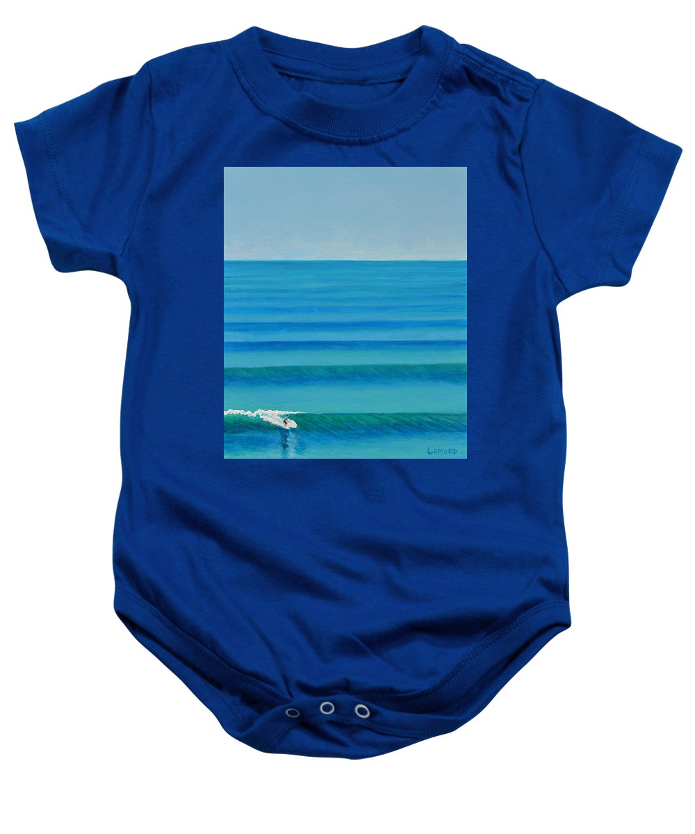 Surfing Baby Onesie featuring the painting Bali Lines by Nathan Ledyard