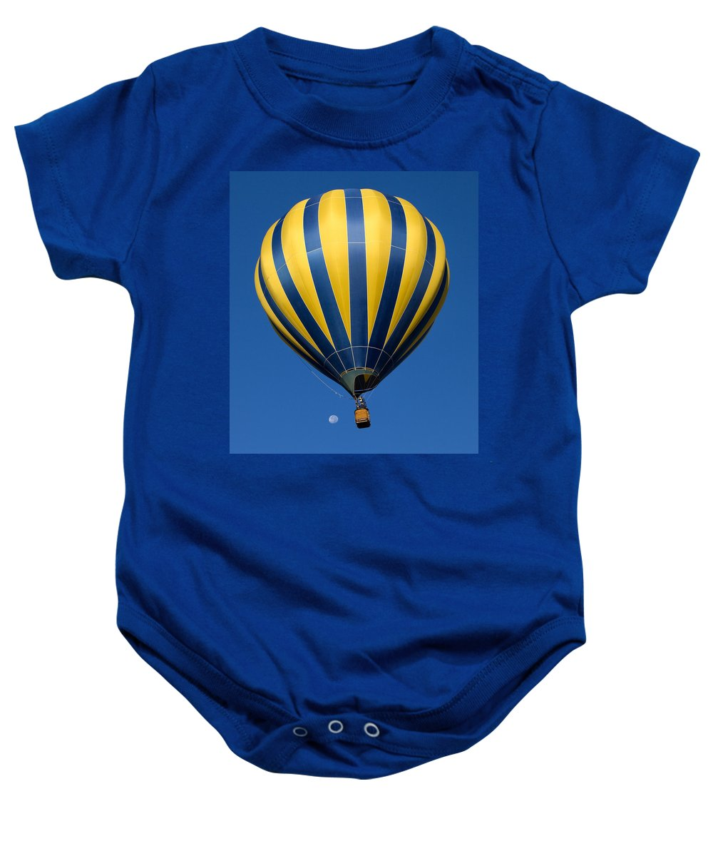 Hot Air Balloon Baby Onesie featuring the photograph Balloon And The Moon by Diana Powell