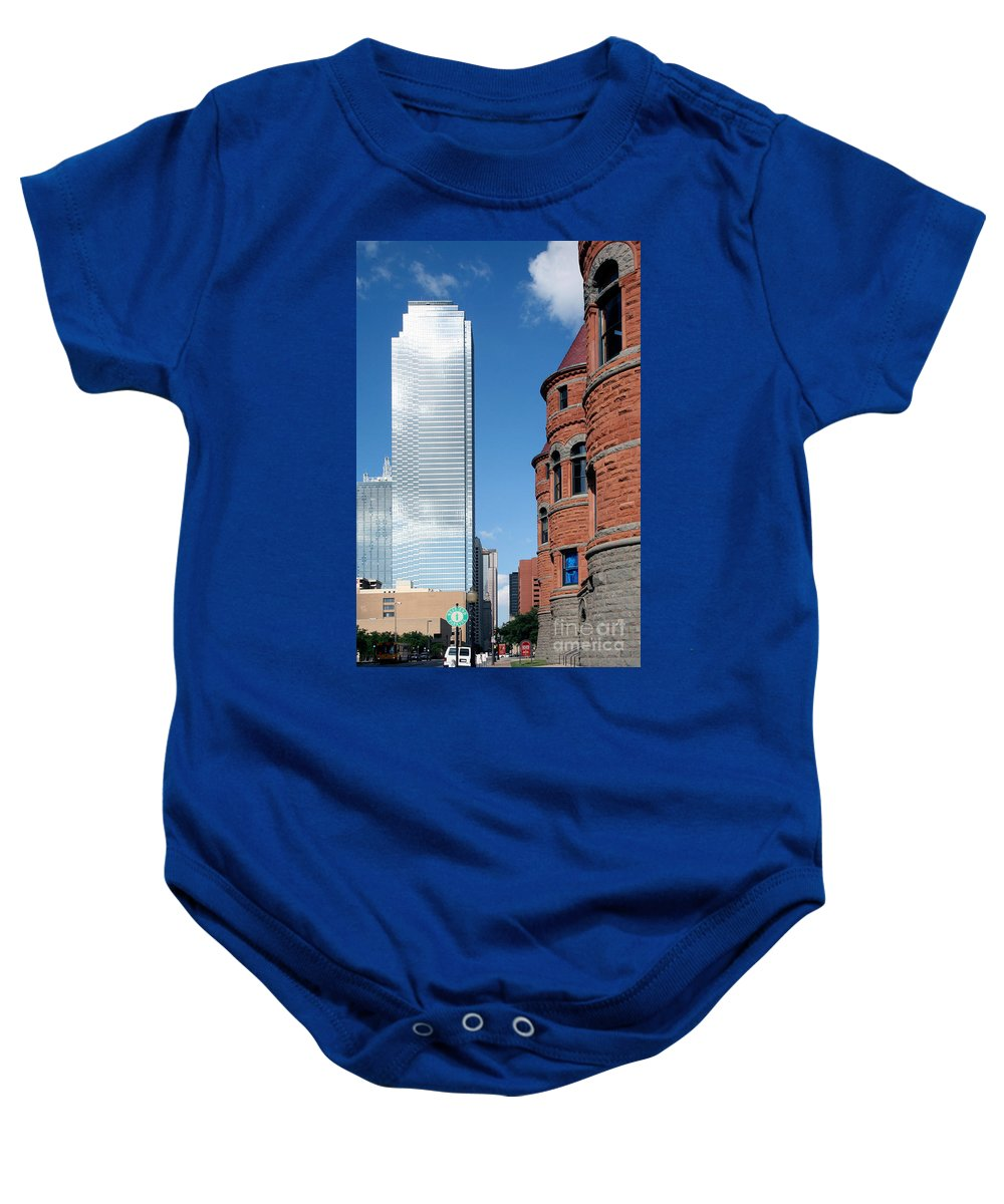 Bank Of America Plaza Baby Onesie featuring the photograph Bank Of America Plaza Dallas by Bill Cobb