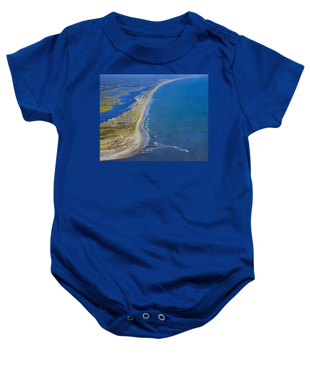 Topsail Baby Onesie featuring the photograph Barrier Island Aerial by Betsy Knapp