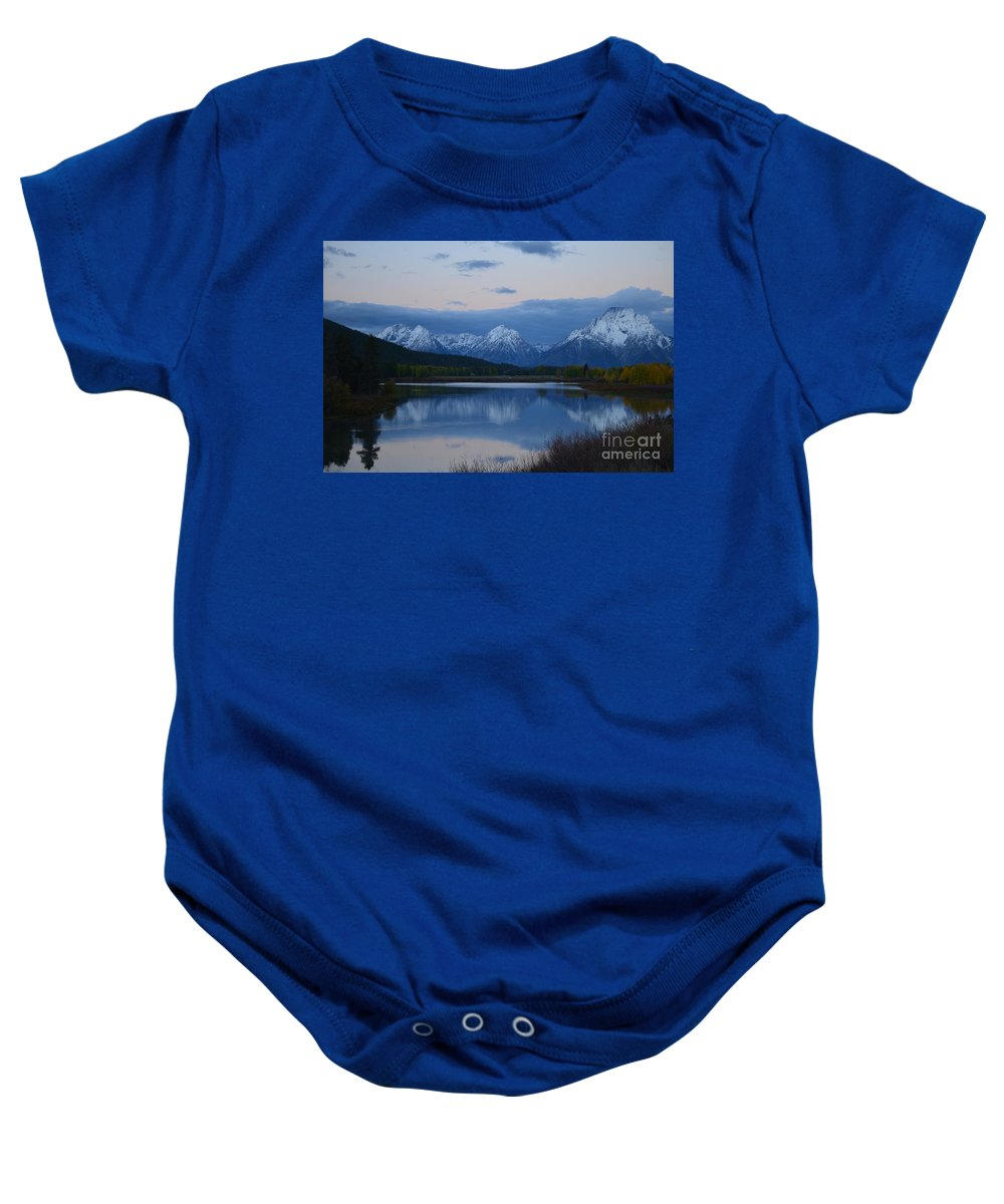 Oxbow Bend Baby Onesie featuring the photograph Before Sunrise by Deanna Cagle