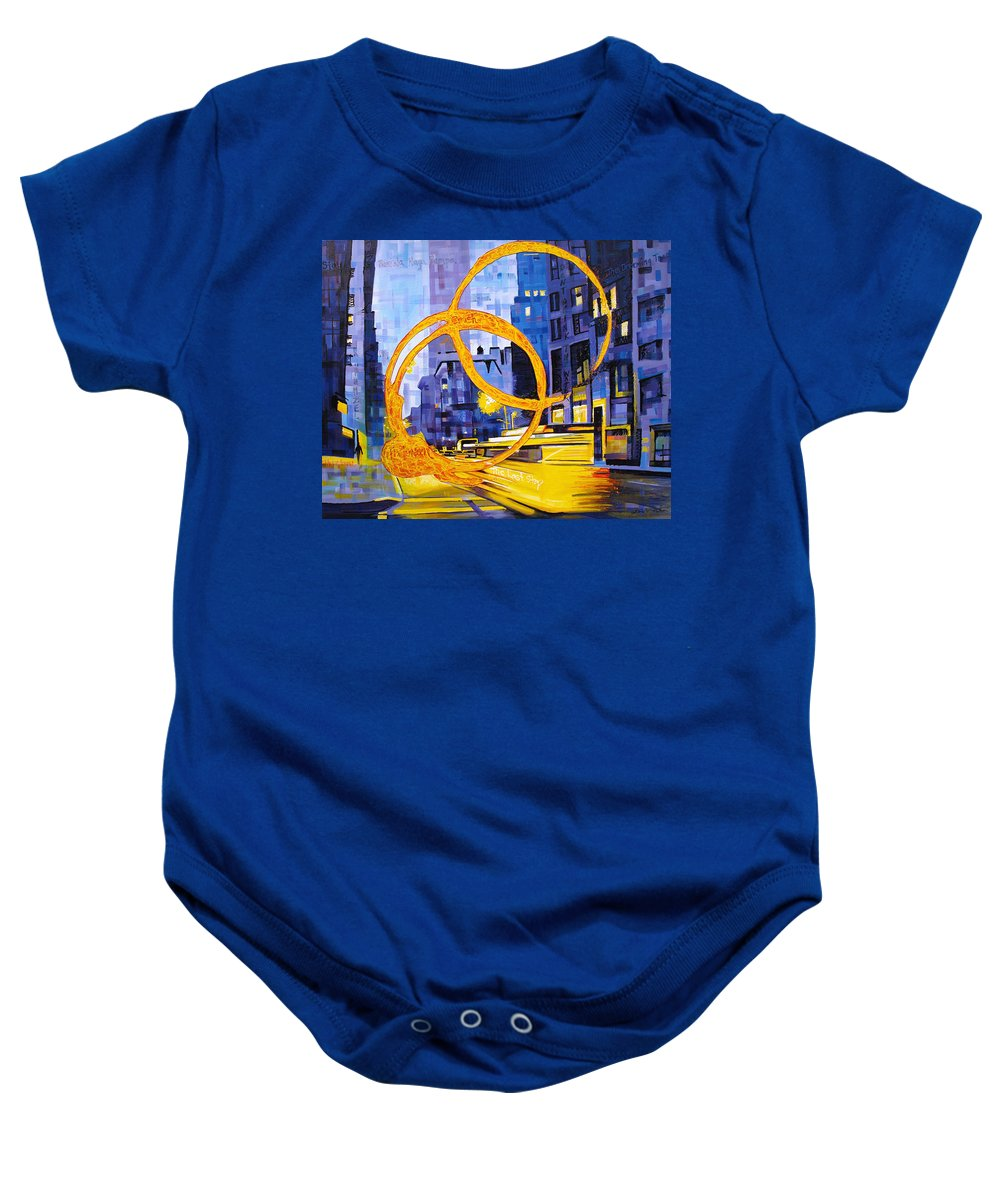 Dave Matthews Baby Onesie featuring the painting Before These Crowded Streets by Joshua Morton