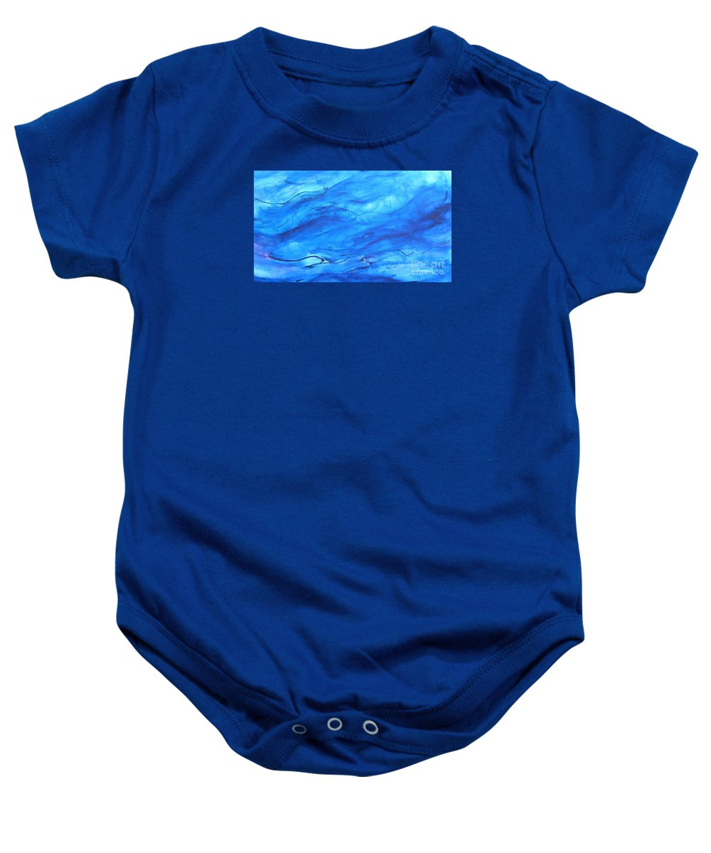 Blue Baby Onesie featuring the painting Big Blue by Marilyn Healey
