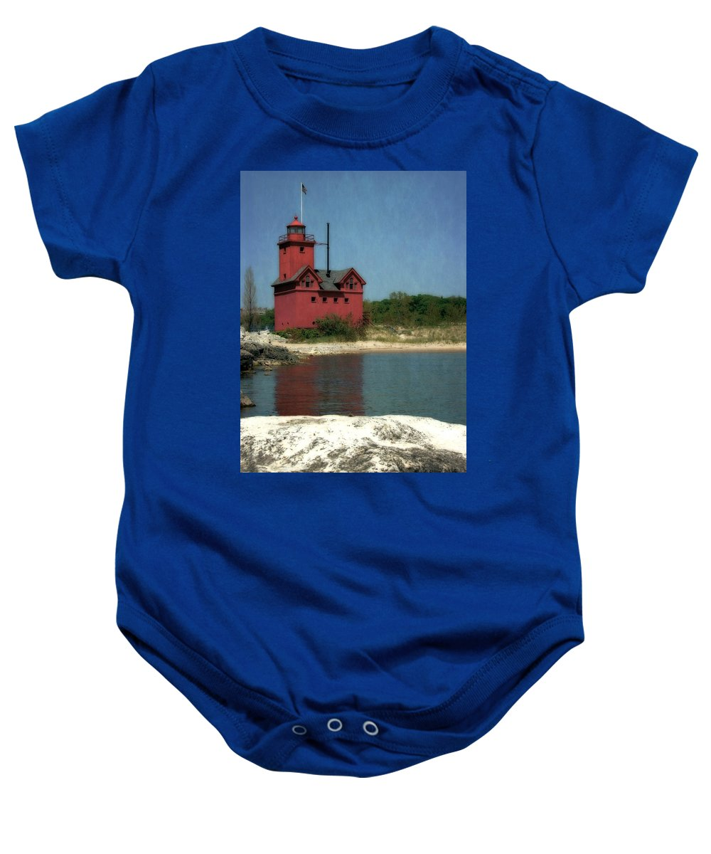 Michigan Baby Onesie featuring the photograph Big Red Holland Michigan Lighthouse by Michelle Calkins