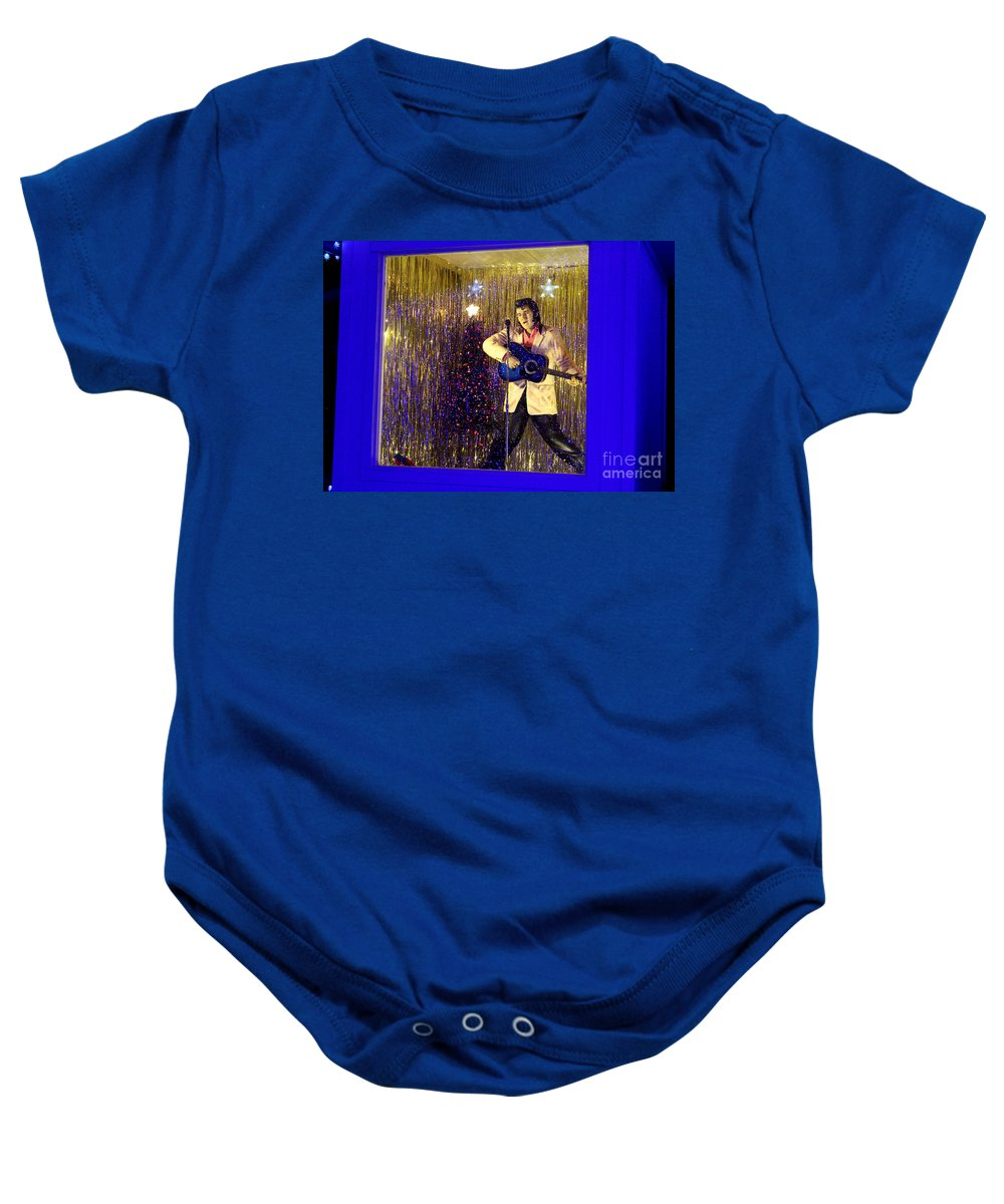 Elvis Presley Memorabilia Baby Onesie featuring the photograph Blue Christmas Without Elvis by Kathy White