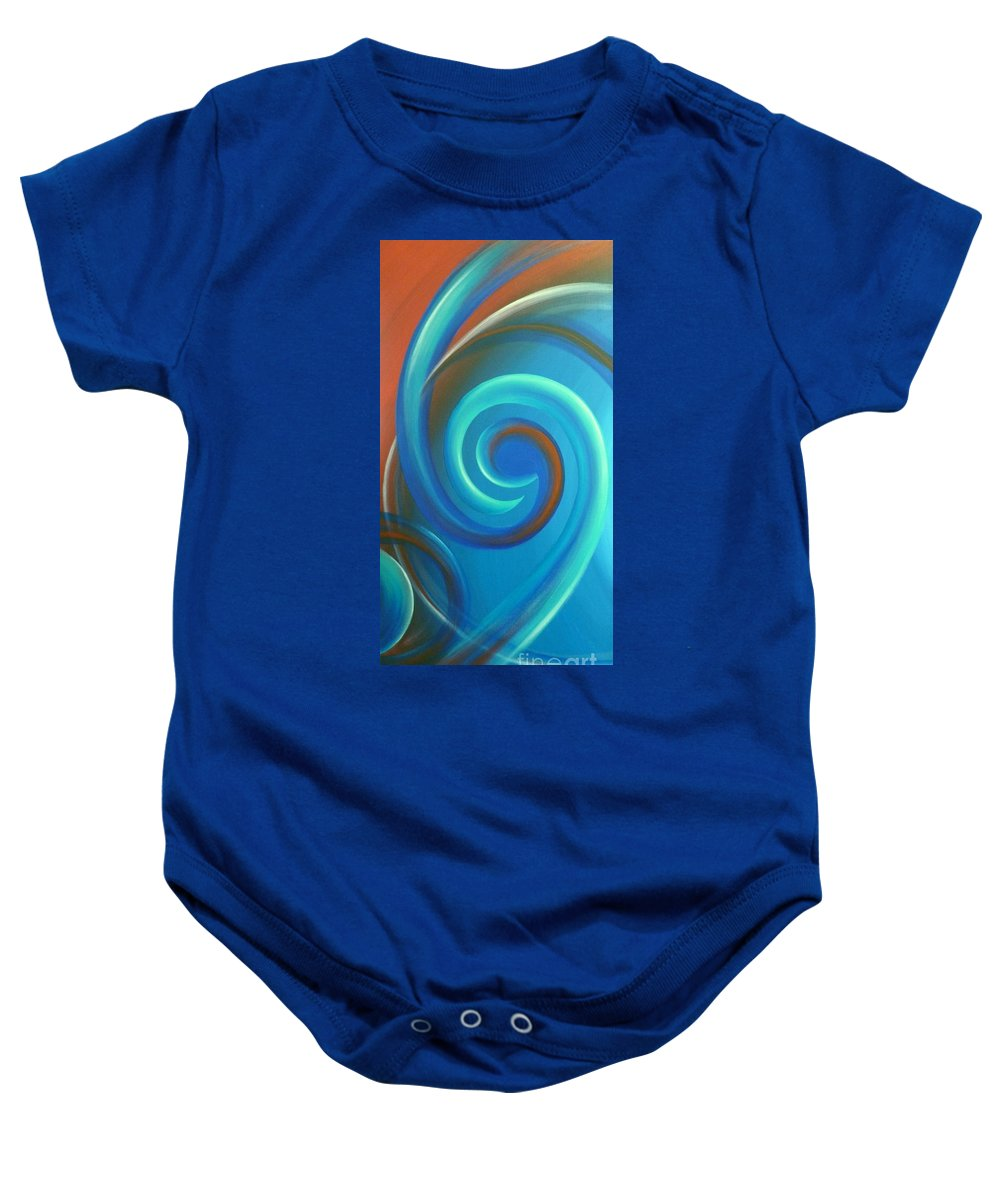 Abstract Prints Baby Onesie featuring the painting Cosmic Swirl By Reina Cottier by Reina Cottier