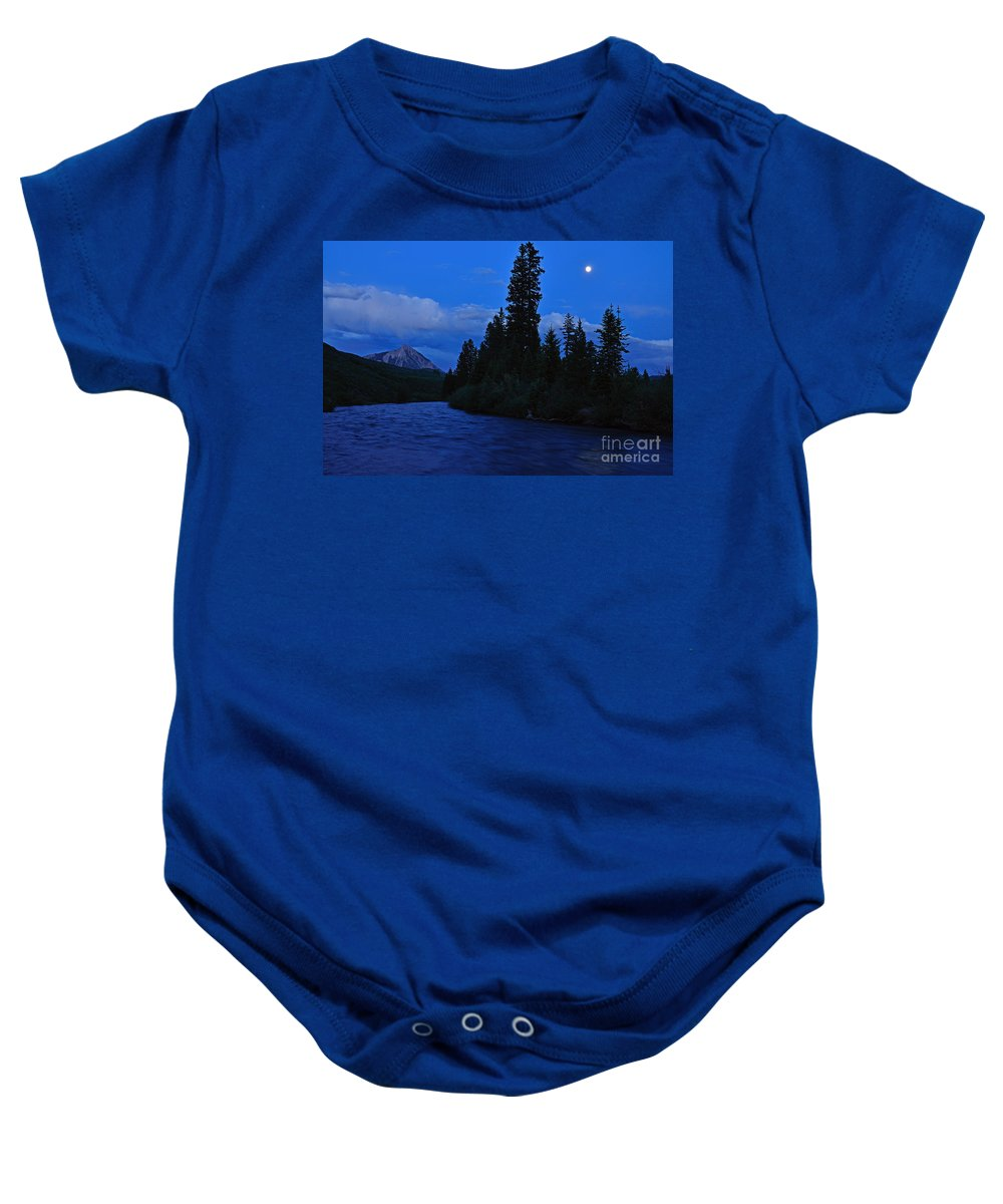 Crested Butte Baby Onesie featuring the photograph Blue Missing You by Kelly Black