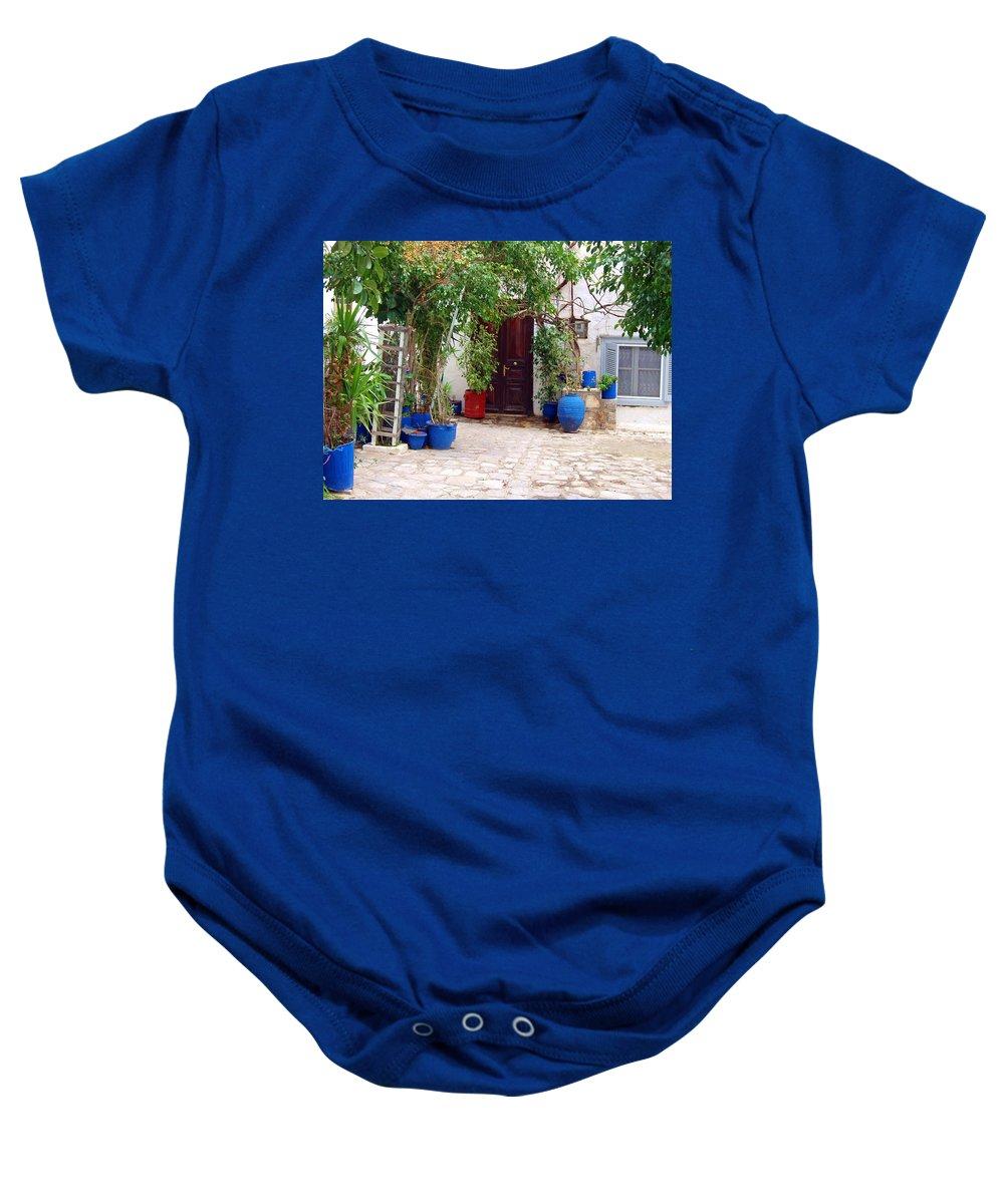 Blue Pots Baby Onesie featuring the photograph Blue Pots by Ellen Henneke