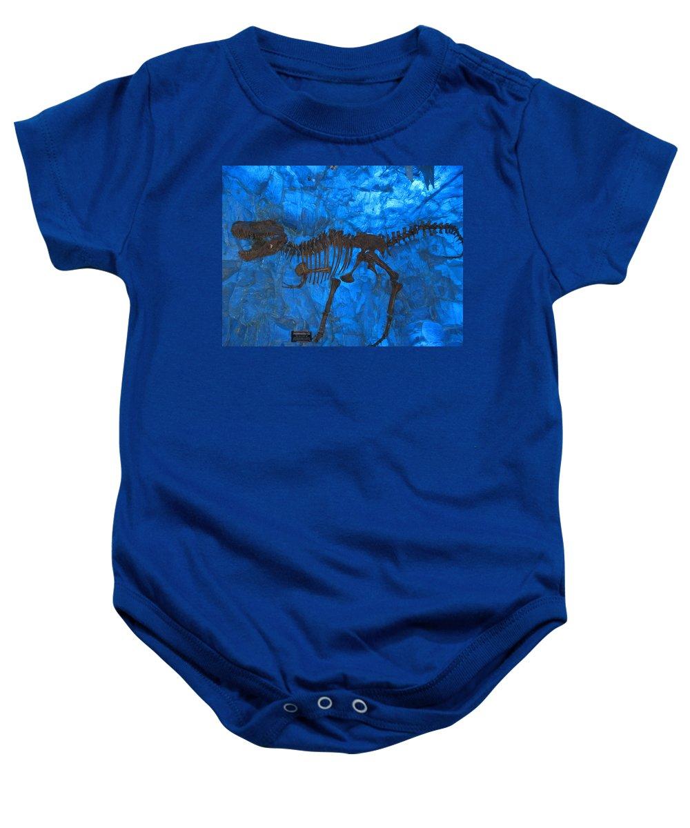 T-rex Baby Onesie featuring the digital art Blue Rock by Naomi McQuade
