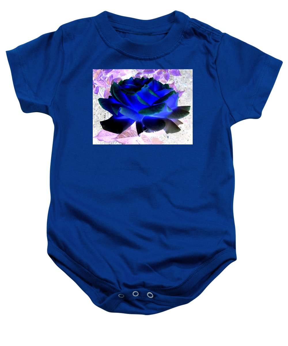 Blue Rose Baby Onesie featuring the digital art Blue Rose by Will Borden