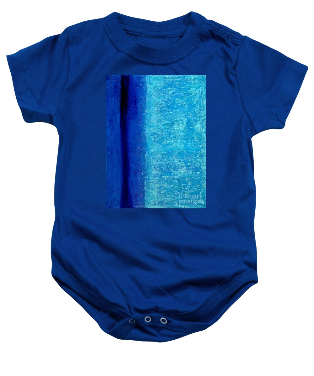 Abstract Baby Onesie featuring the painting Blue Serenity by Bruce Stanfield
