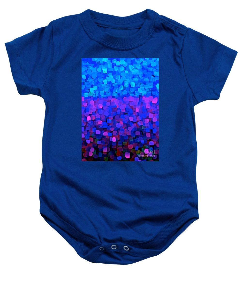 Blueberry Blue Baby Onesie featuring the painting Blueberry Passion Fruit by Saundra Myles