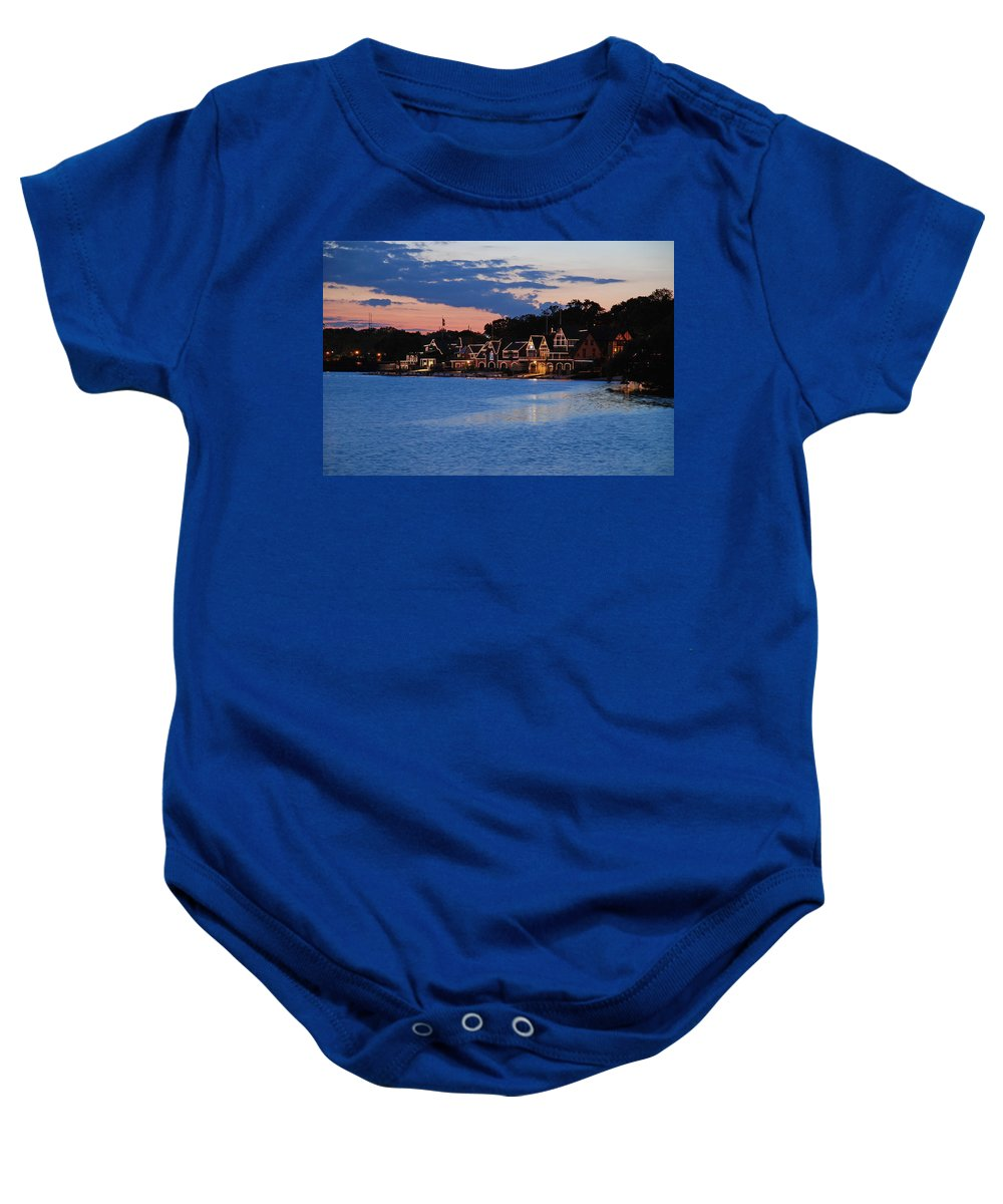 Boathouse Row Baby Onesie featuring the photograph Boathouse Row Dusk by Jennifer Ancker