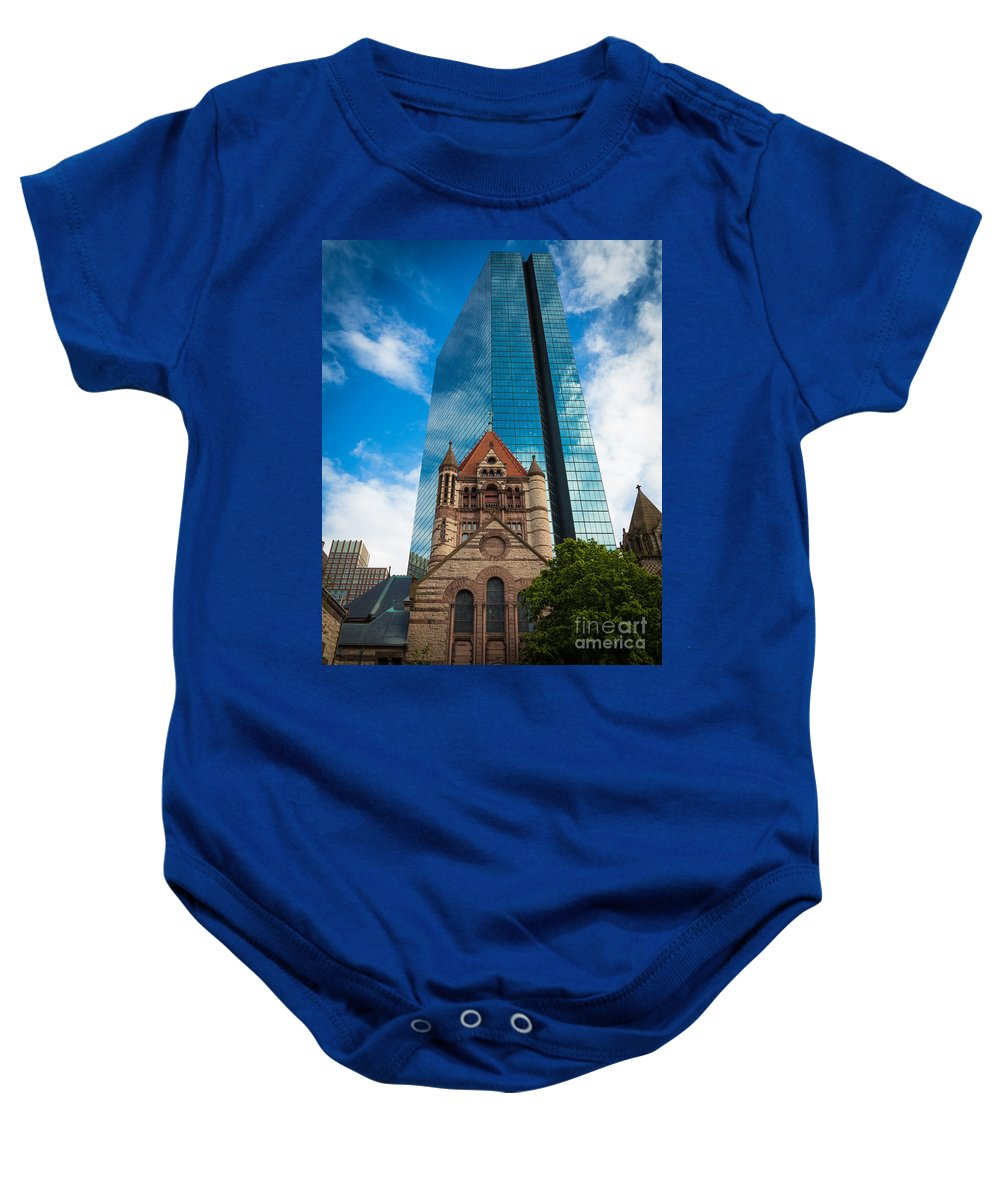 America Baby Onesie featuring the photograph Boston Trinity Church by Inge Johnsson