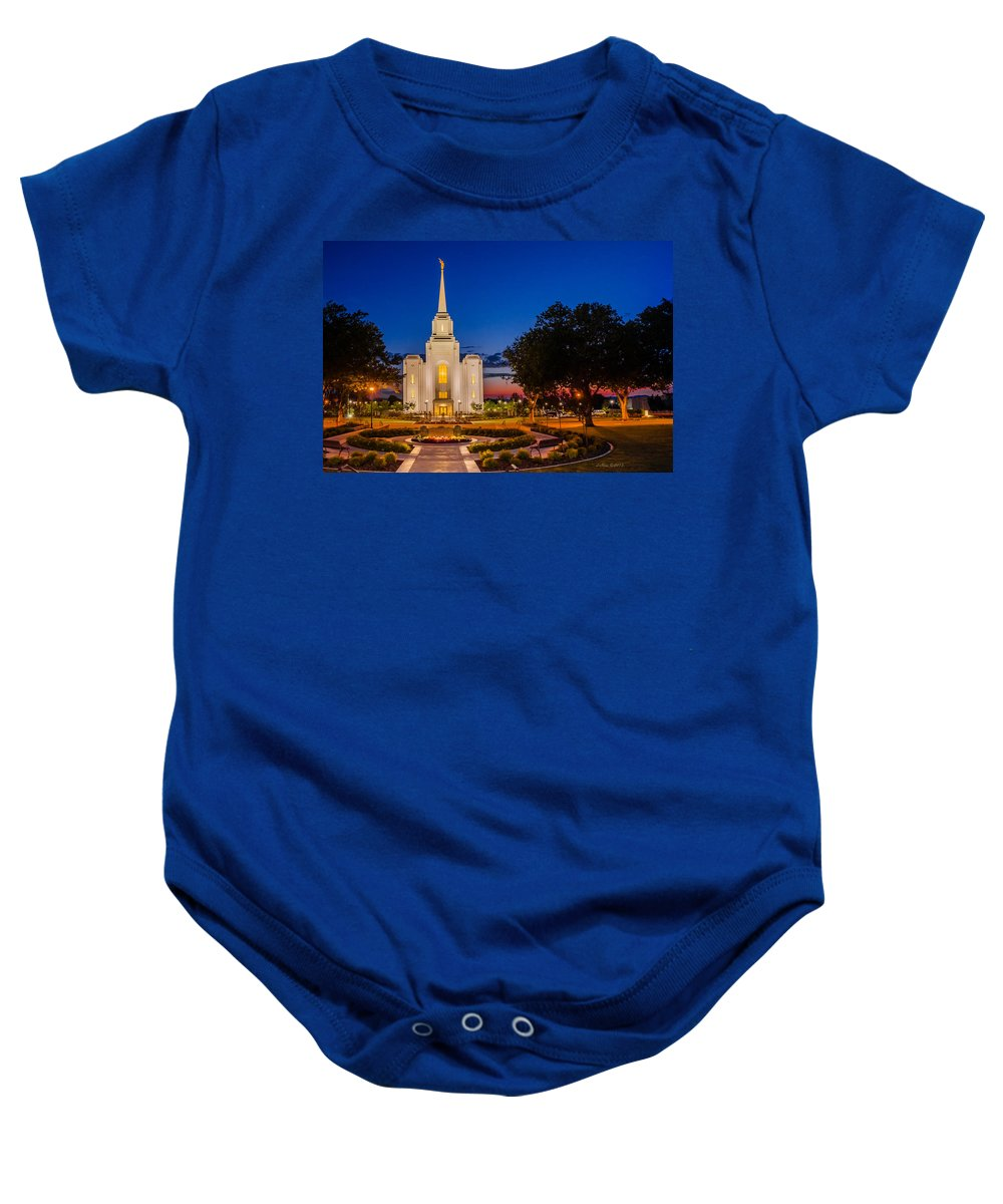 Brigham City Temple Baby Onesie featuring the photograph Brigham City Temple Twilight 1 by La Rae Roberts