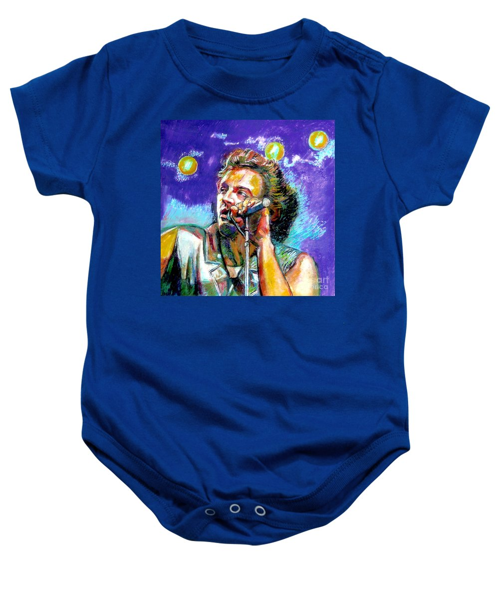 Bruce Sprinsteen Baby Onesie featuring the painting Bruce Springsteen by Stan Esson