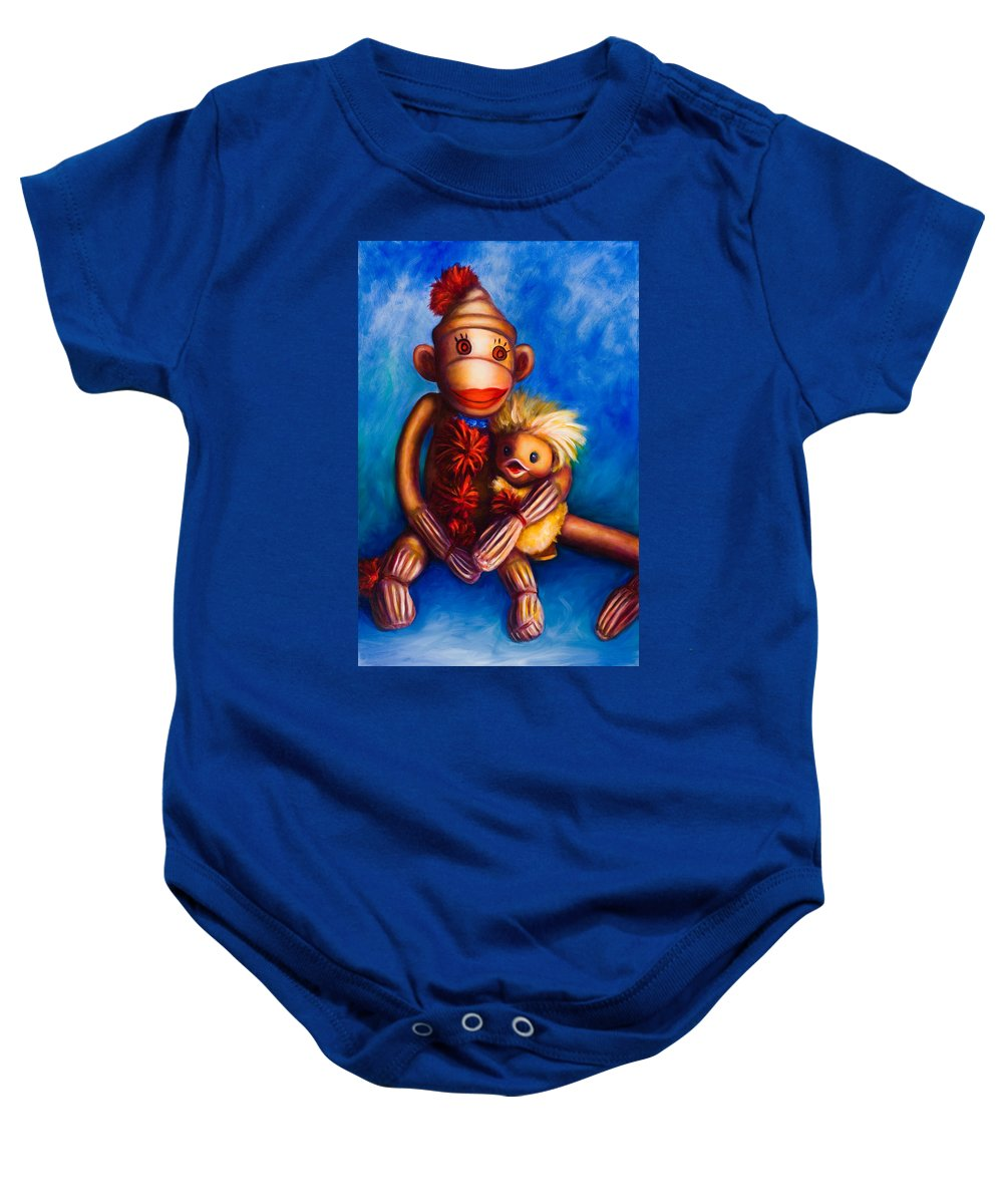 Sock Monkeys Brown Baby Onesie featuring the painting Buddies by Shannon Grissom