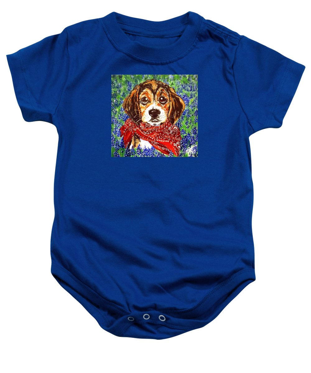 Beagle Baby Onesie featuring the painting Buddy Dog Beagle Puppy Western Wildflowers Basset Hound by Jackie Carpenter