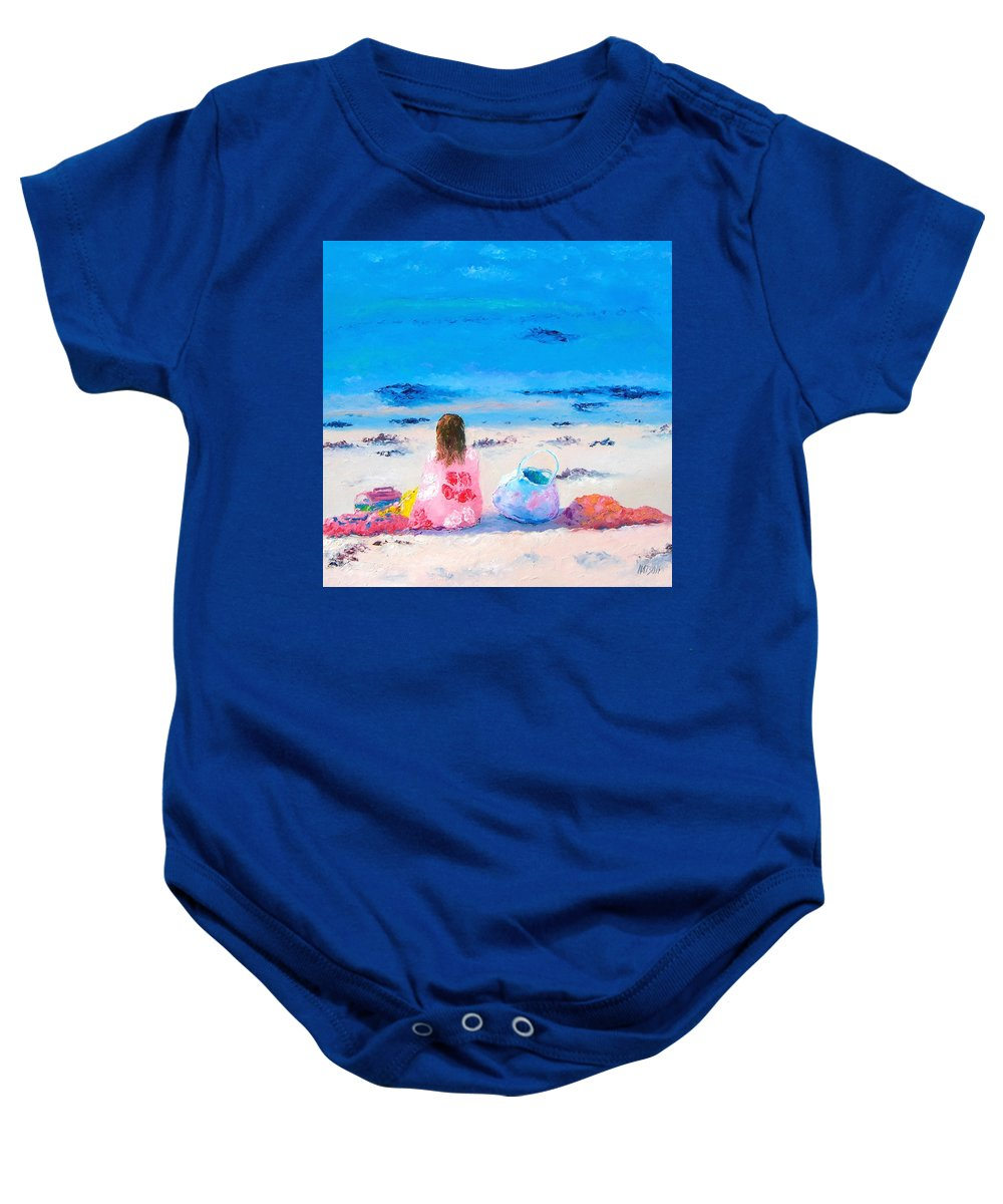 Beach Baby Onesie featuring the painting By The Seaside by Jan Matson