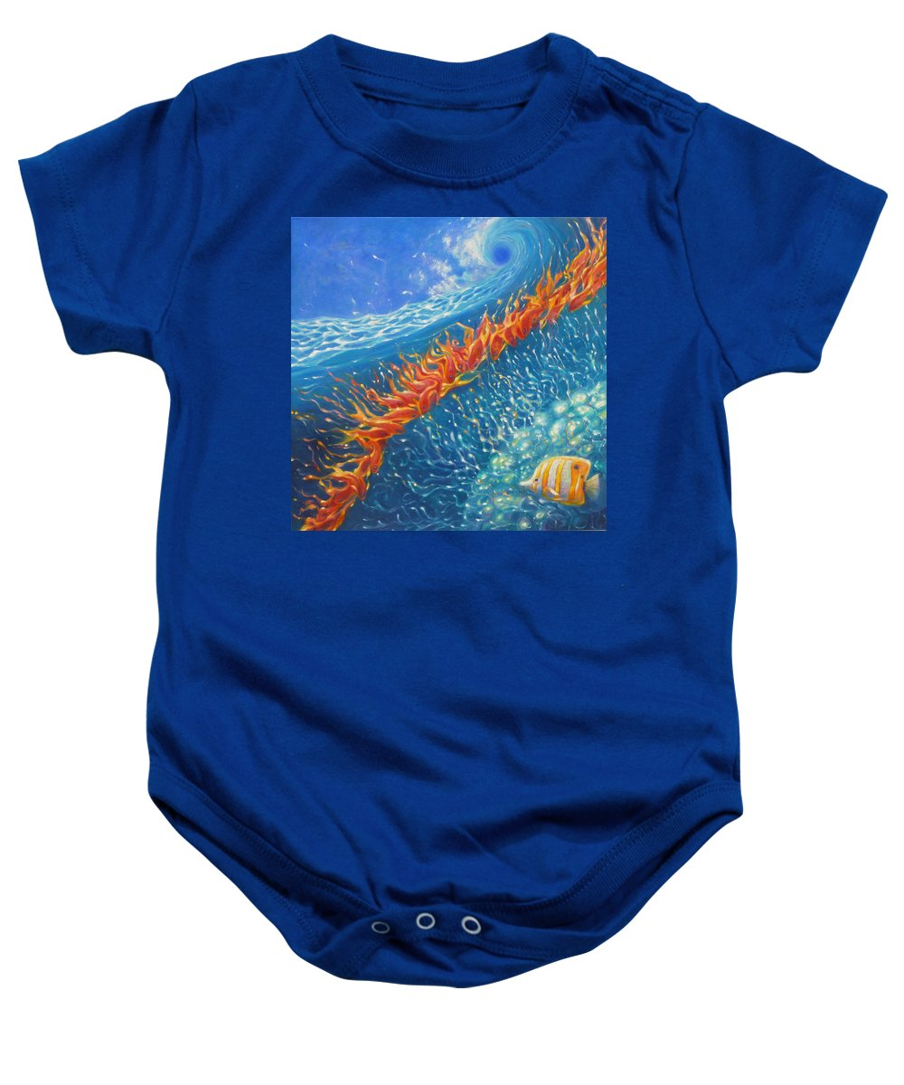 Fish Baby Onesie featuring the painting Caribbean Ballet by Gill Bustamante