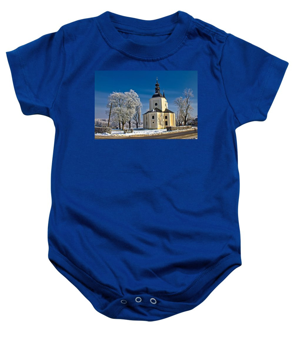 Krizevci Baby Onesie featuring the photograph Catholic Church In Town Of Krizevci by Brch Photography