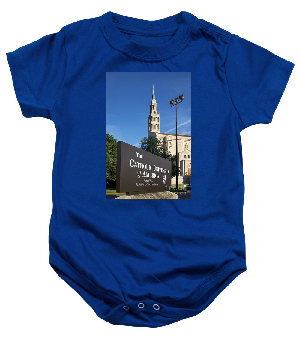 America Baby Onesie featuring the photograph Catholic University Of America by John Greim