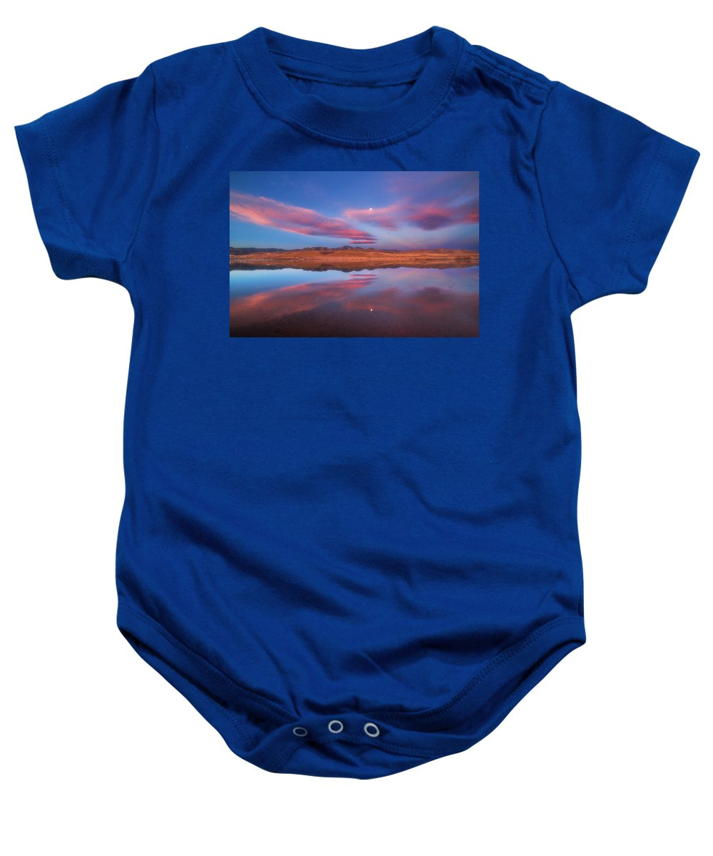 Sunrise Baby Onesie featuring the photograph Chatfield Moon by Darren White