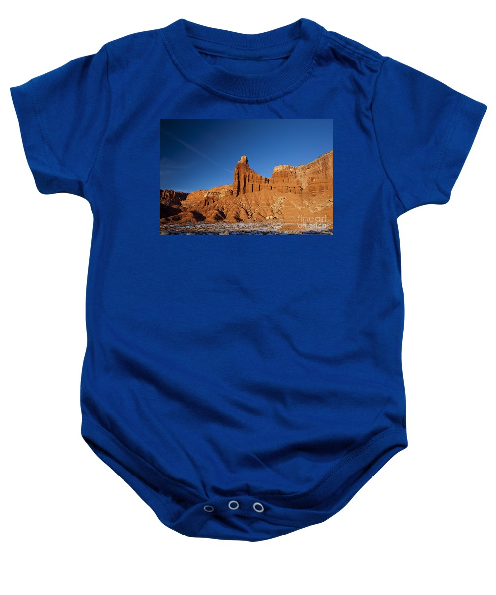 Capitol Reef Baby Onesie featuring the photograph Chimney Rock Capitol Reef National Park Utah by Jason O Watson