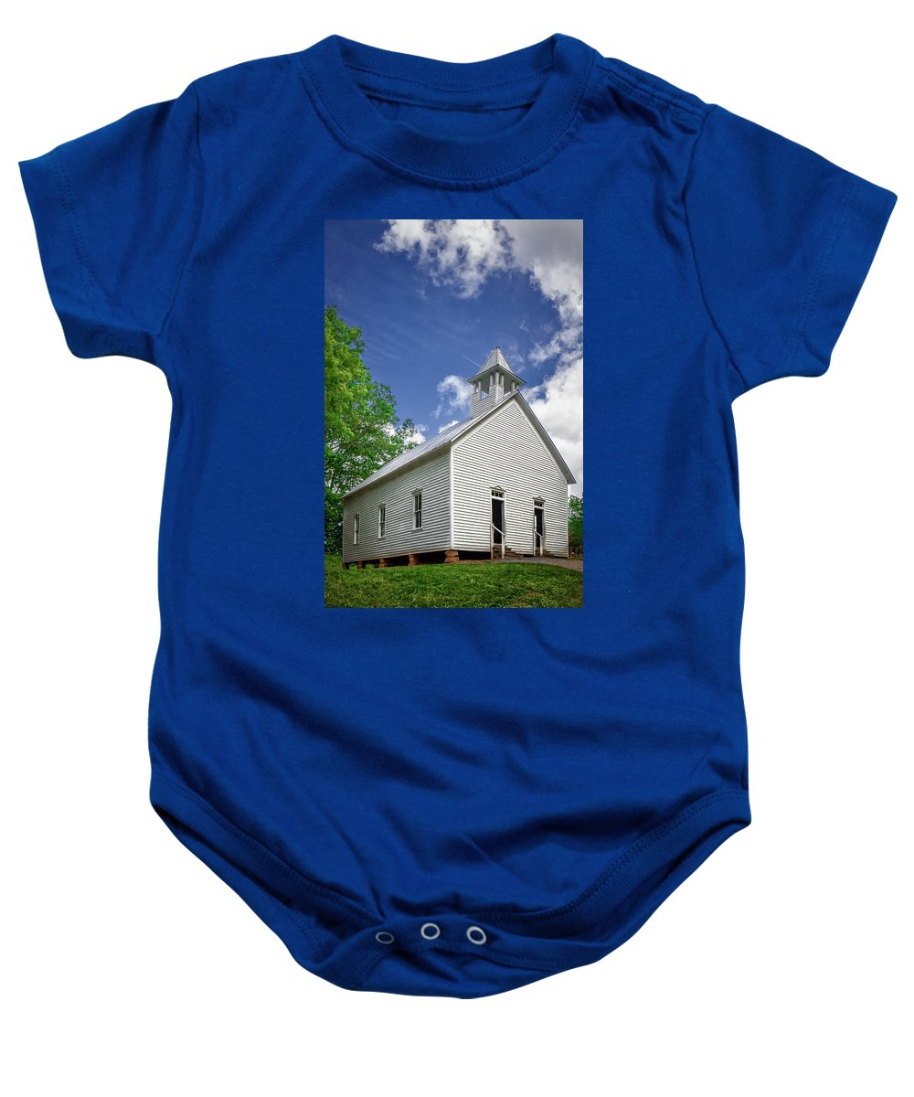 Clouds Baby Onesie featuring the photograph Church On The Hill by Mary Almond