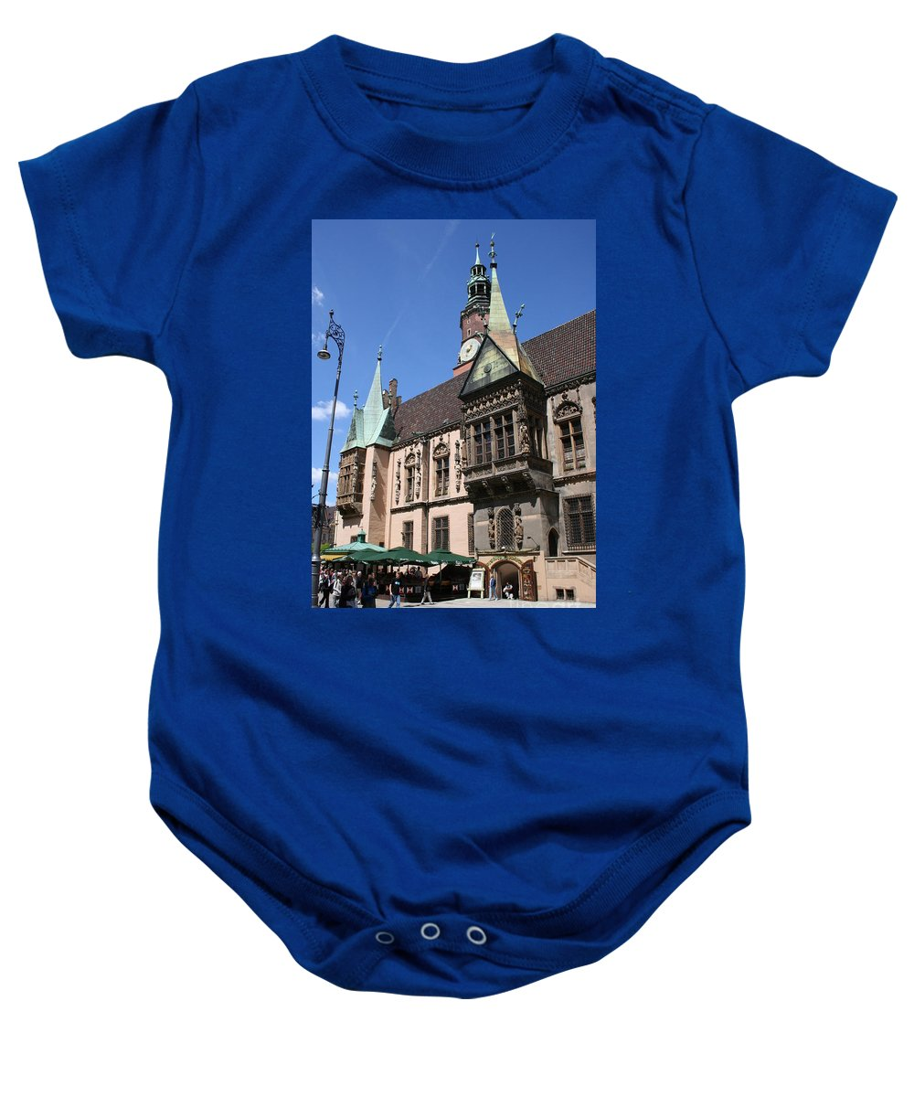 City Hall Baby Onesie featuring the photograph City Hall Wroclaw by Christiane Schulze Art And Photography