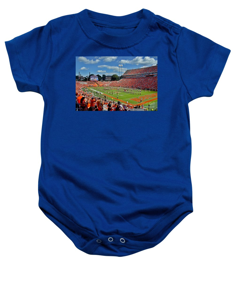 Acc Baby Onesie featuring the photograph Clemson Tiger Band Memorial Stadium by Jeff McJunkin