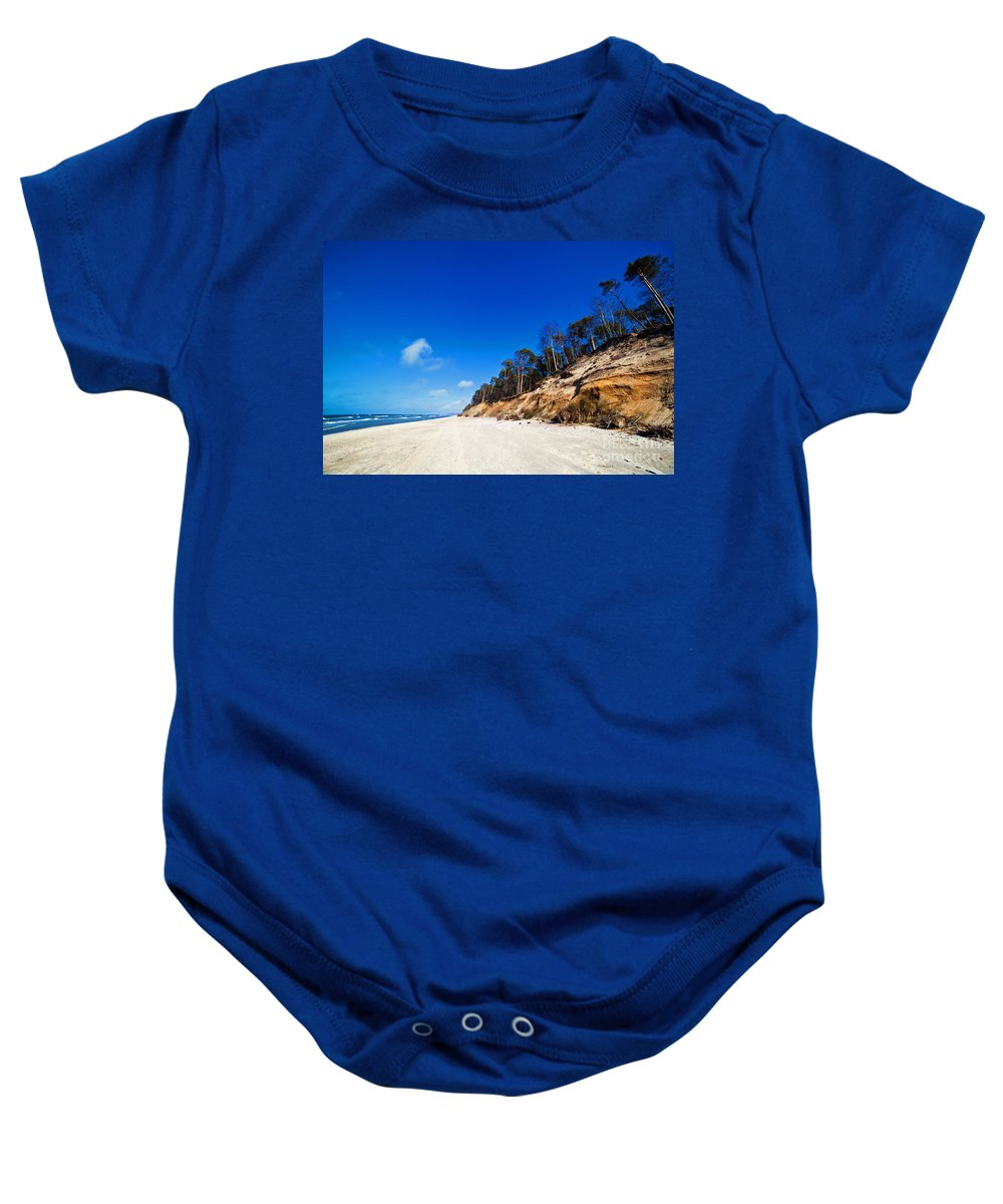 Sea Baby Onesie featuring the photograph Cliffs On A Sunny Beach by Michal Bednarek