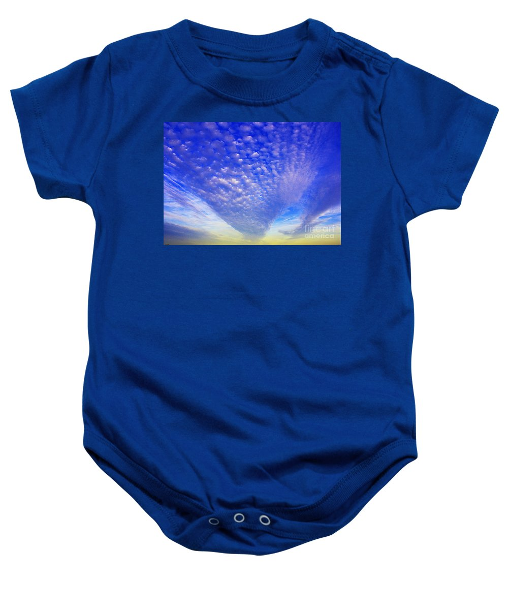 Clouds Baby Onesie featuring the photograph Cloud Tails At Sunrise by Christine Dekkers