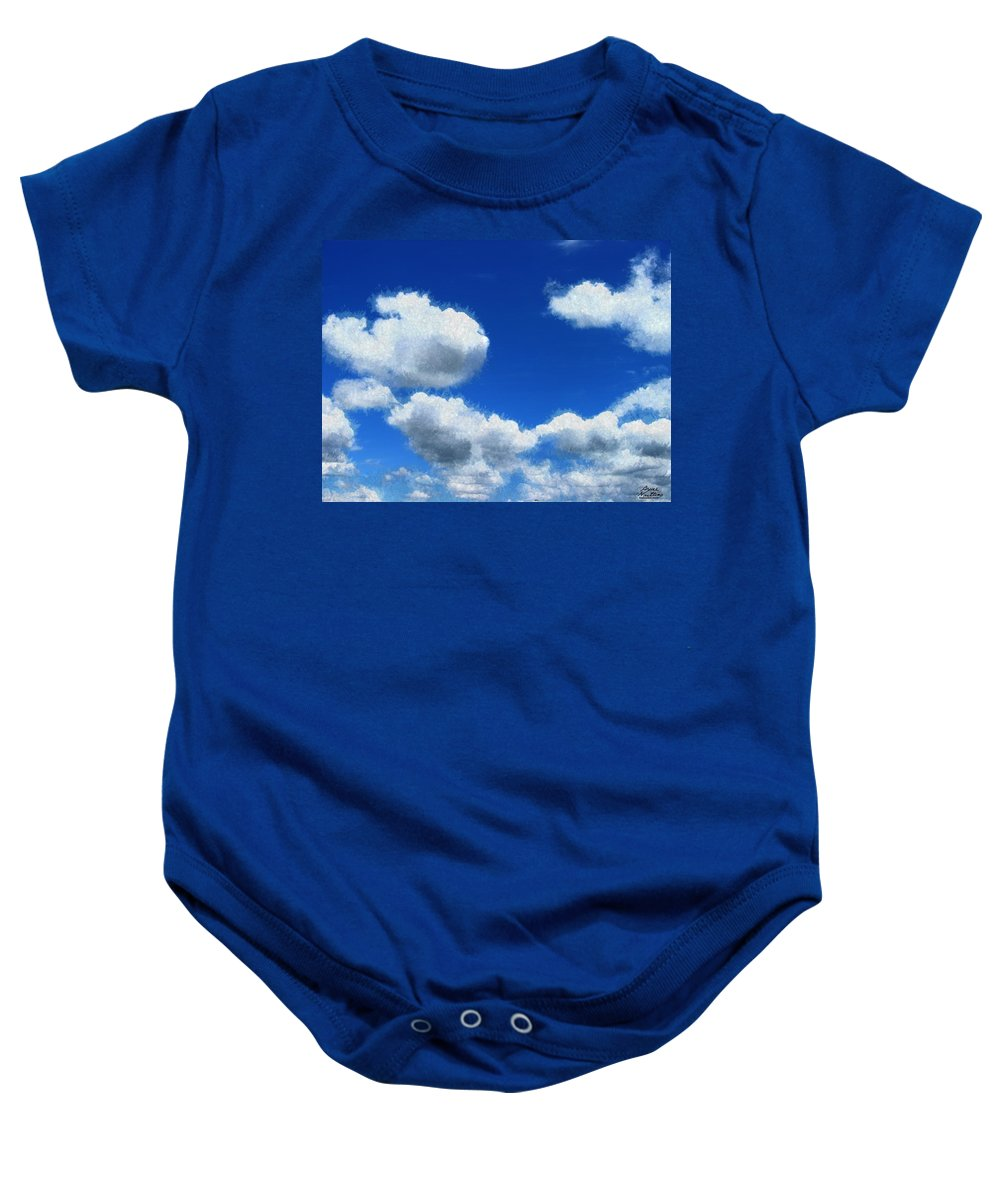 Clouds Baby Onesie featuring the painting Clouds In A Blue Sky by Bruce Nutting