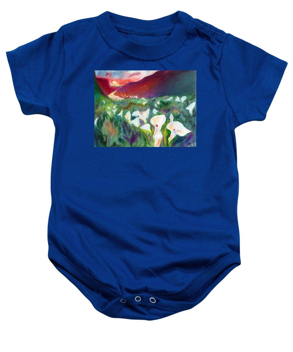 C Sitton Paintings Baby Onesie featuring the pastel Coastal Callas by C Sitton