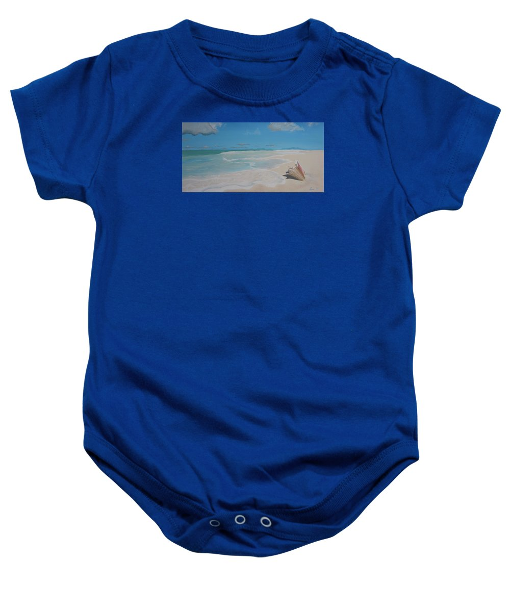 Conch Baby Onesie featuring the painting Conch On The Beach by Lana Arft