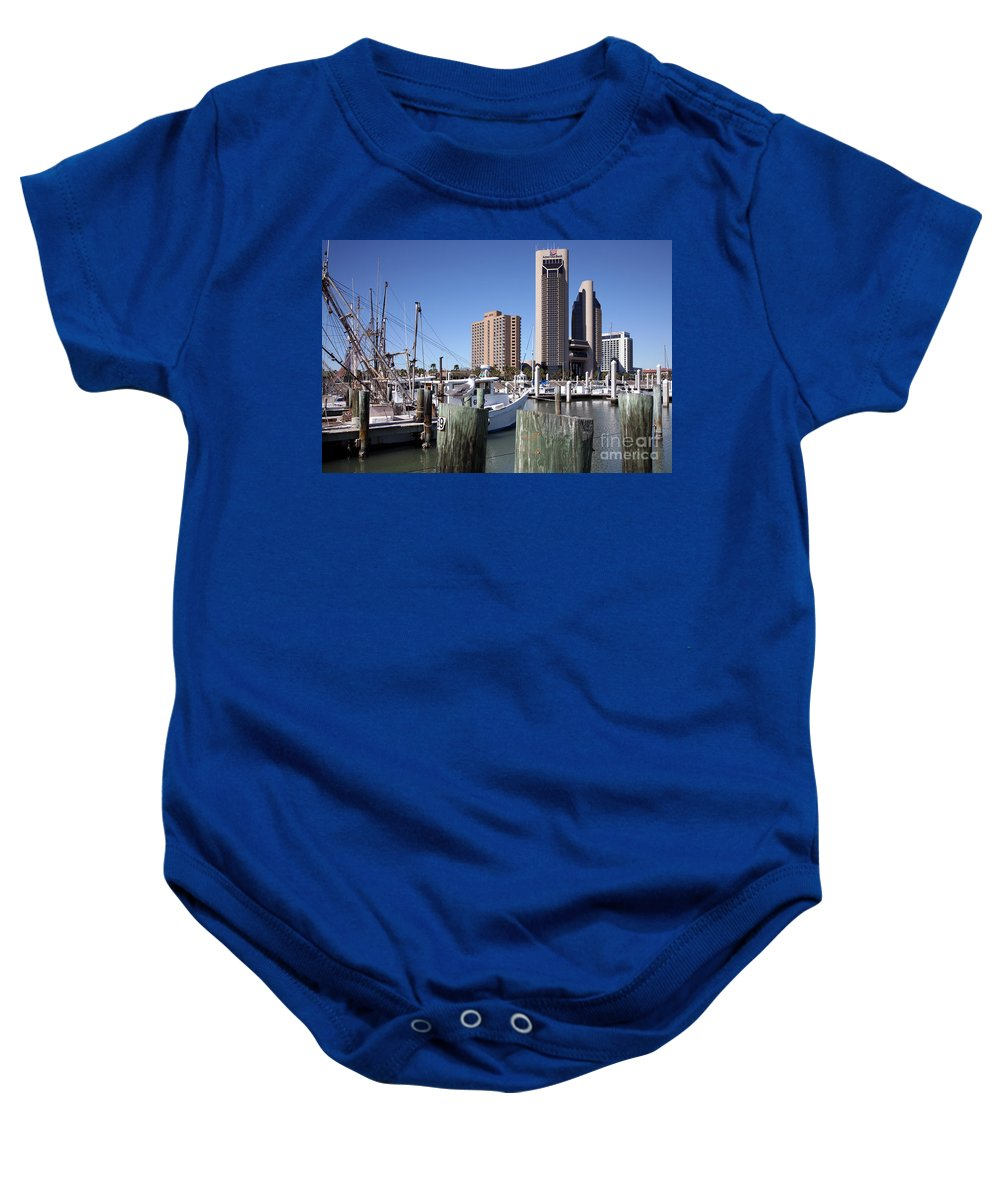 Corpus Christi Baby Onesie featuring the photograph Corpus Christi Marina by Bill Cobb