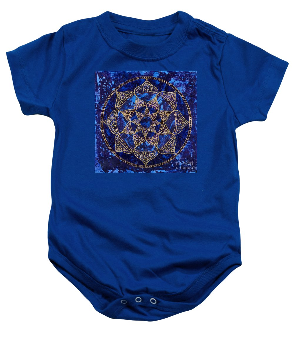 Mandala Baby Onesie featuring the painting Cosmic Blue Lotus by Charlotte Backman