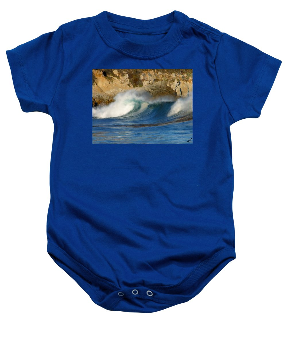 Ocean Baby Onesie featuring the painting Crashing On The Cliff by Bruce Nutting