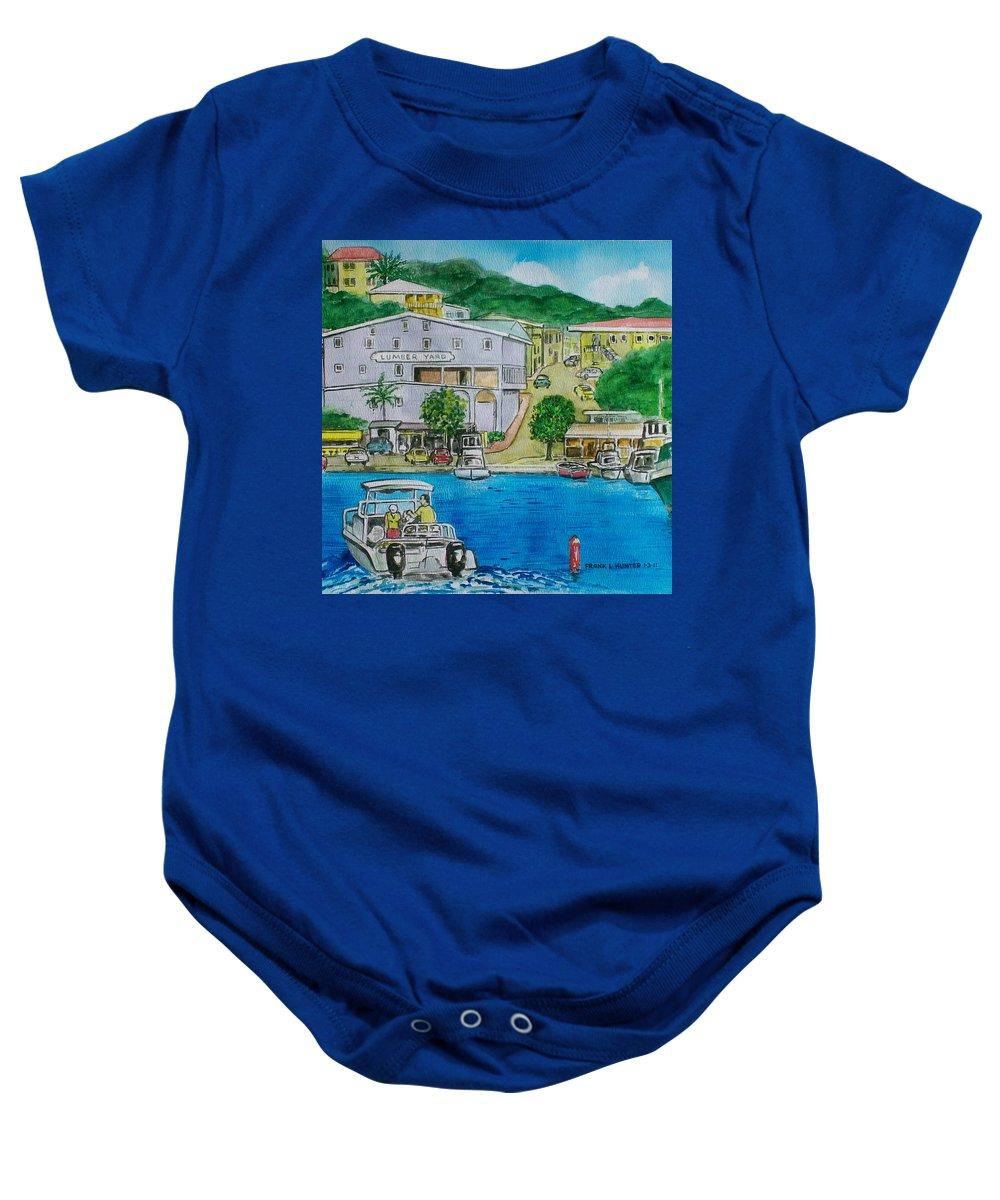 St John Virgin Islands Baby Onesie featuring the painting Cruz Bay St. Johns Virgin Islands by Frank Hunter